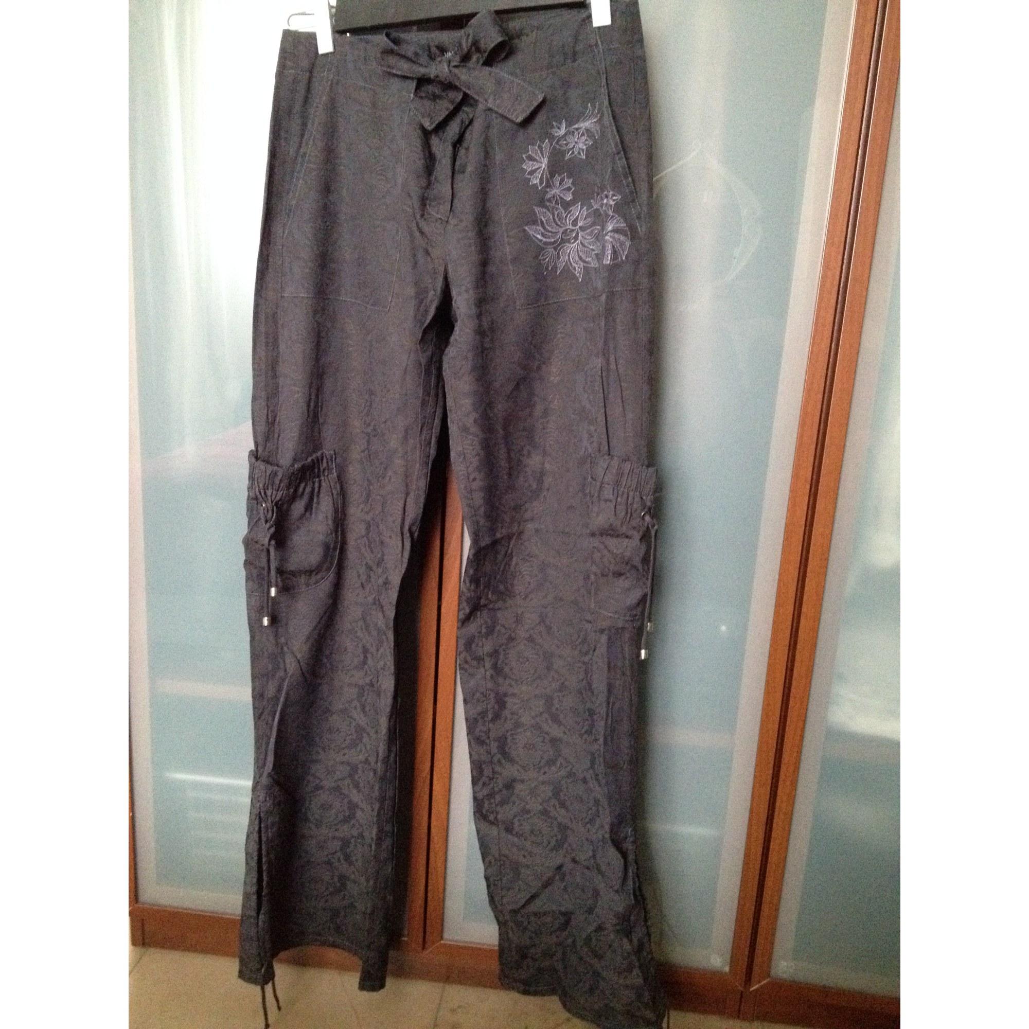 Pantalon droit MANGO Violet, mauve, lavande