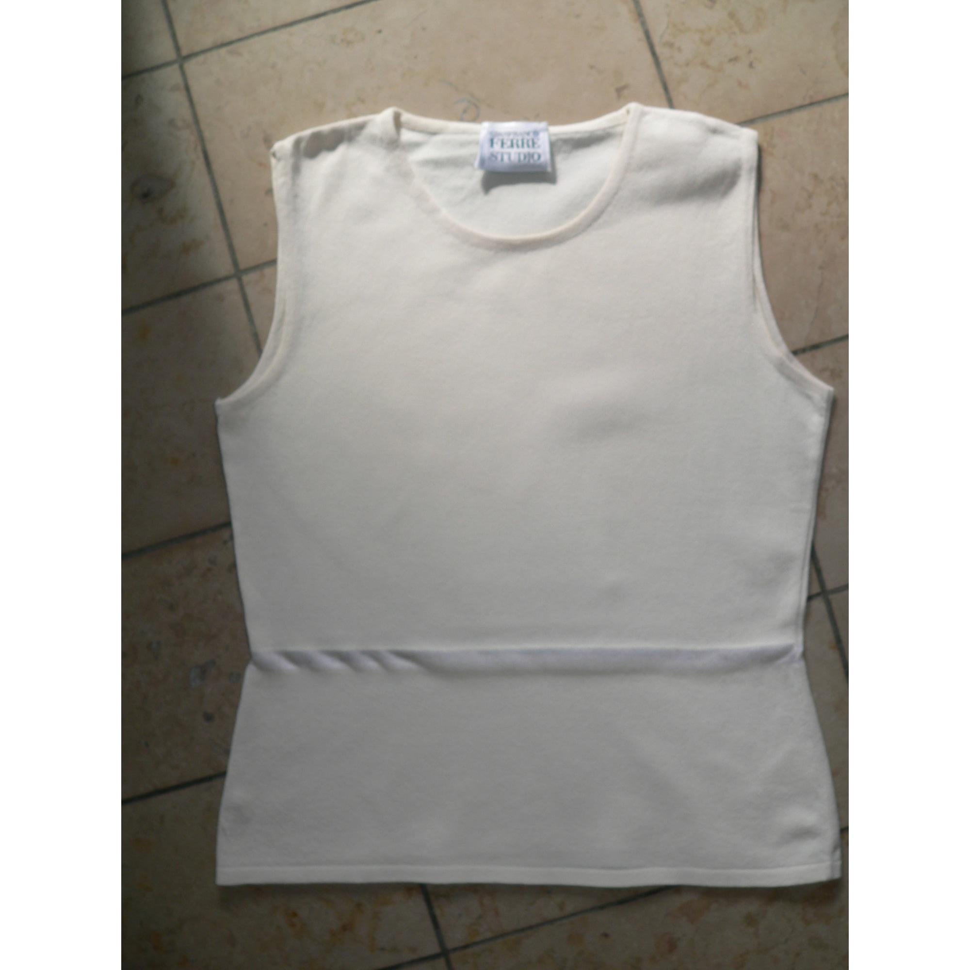 Top, tee-shirt GIANFRANCO FERRE Blanc, blanc cassé, écru
