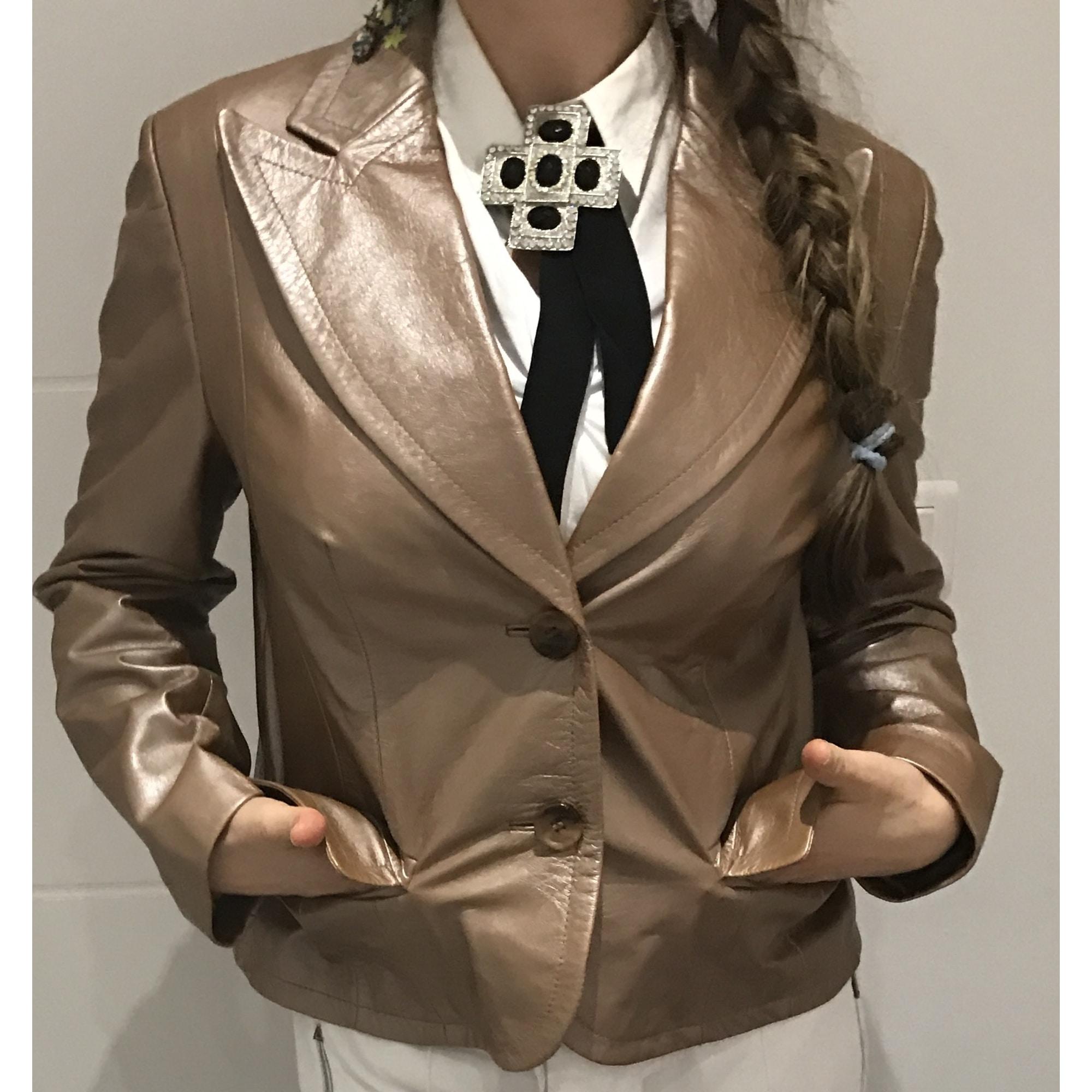 Veste en cuir PRESTIGE ÉLÉGANCE S.A.PARIS ... Doré, bronze, cuivre
