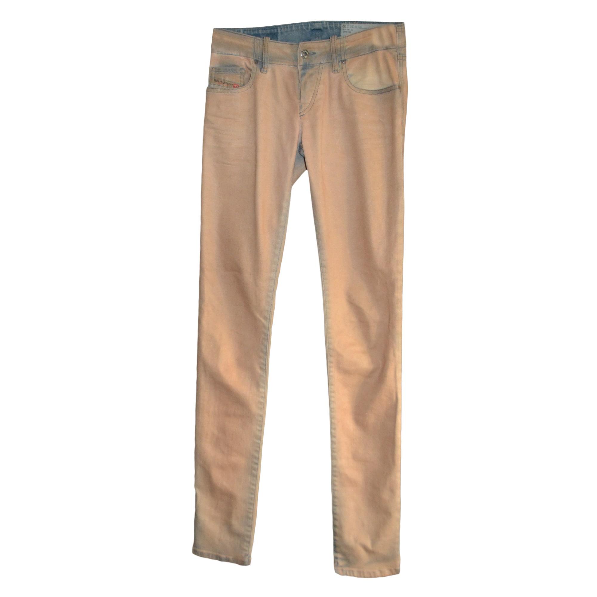 Pantalon slim, cigarette DIESEL Beige, camel