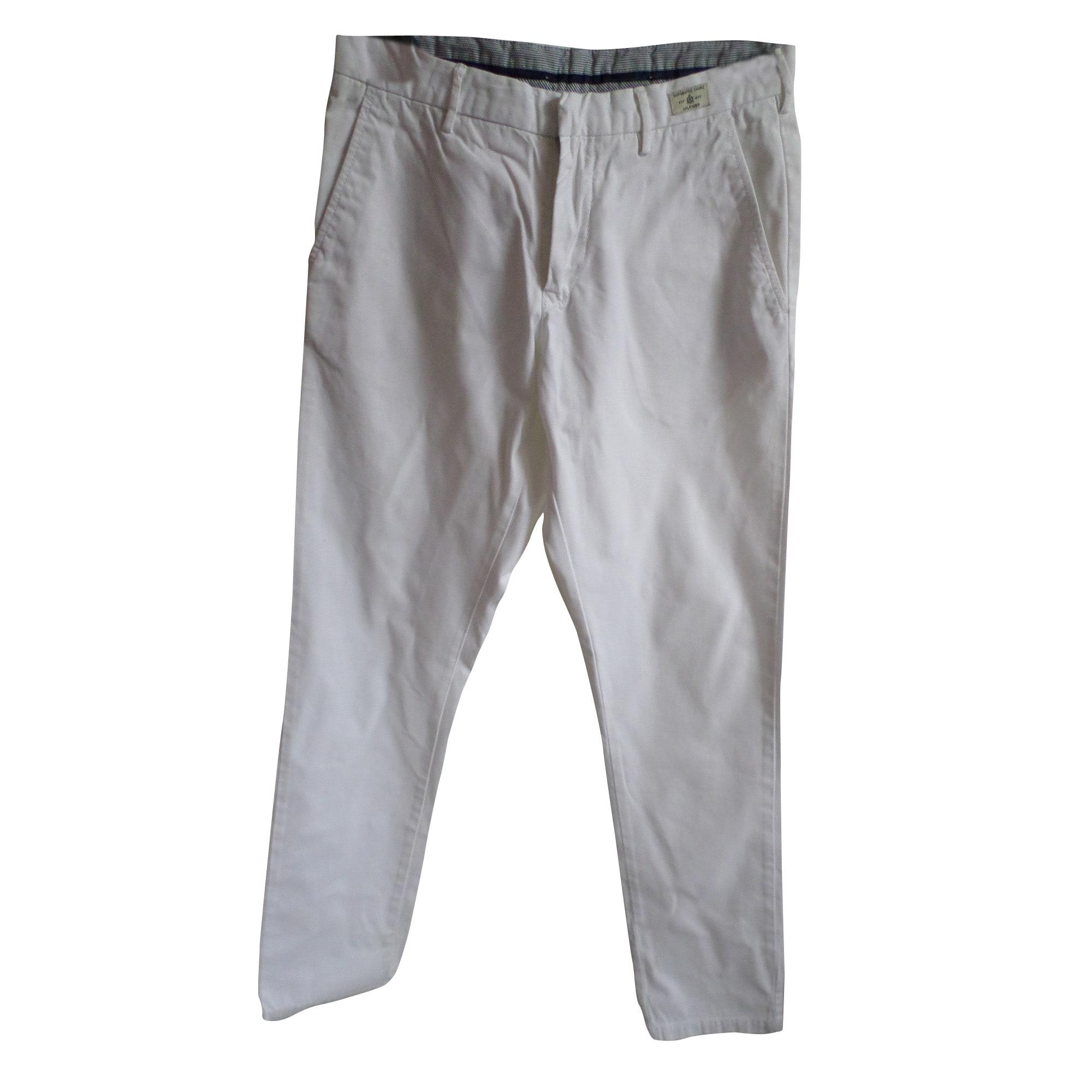 Pantalon droit TOMMY HILFIGER Blanc, blanc cassé, écru