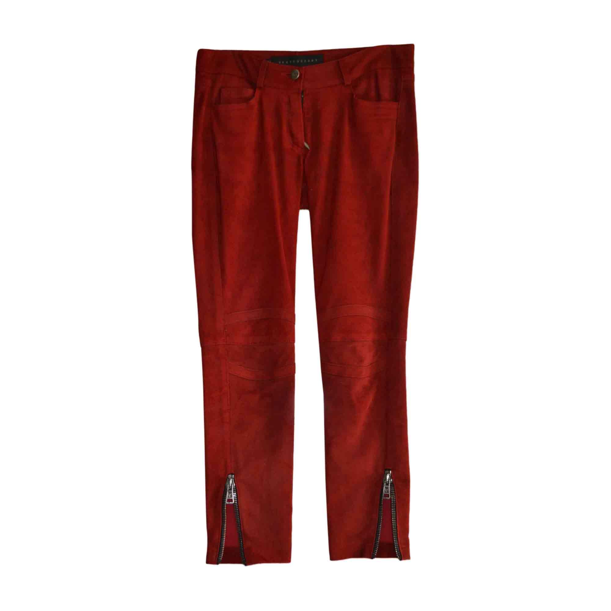 Pantalon droit VENTCOUVERT Rouge, bordeaux