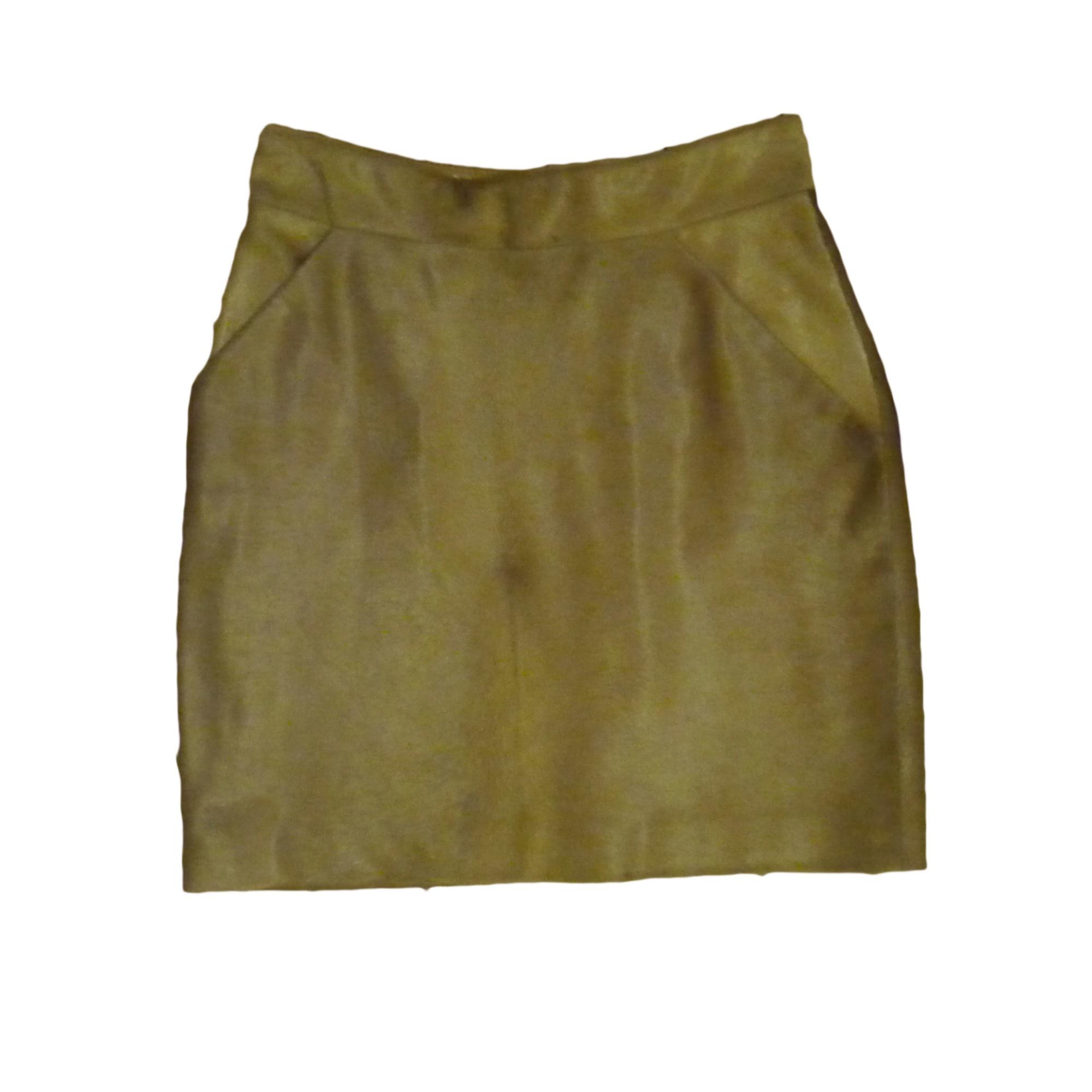 Jupe courte POLLINI Doré, bronze, cuivre