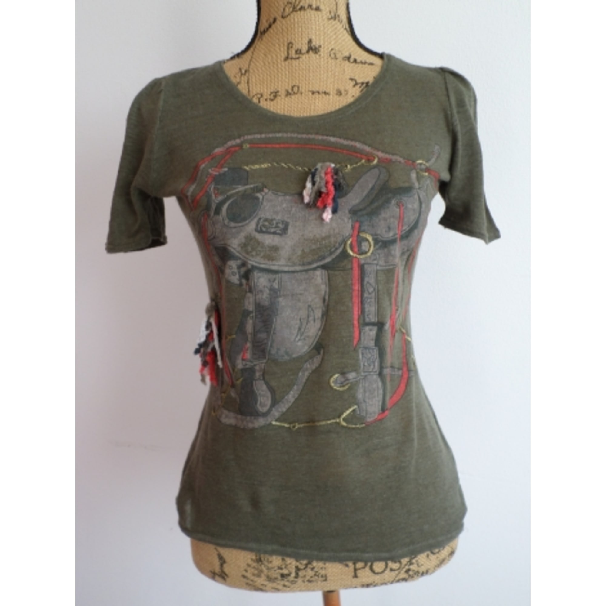 Top, tee-shirt MAJE Kaki