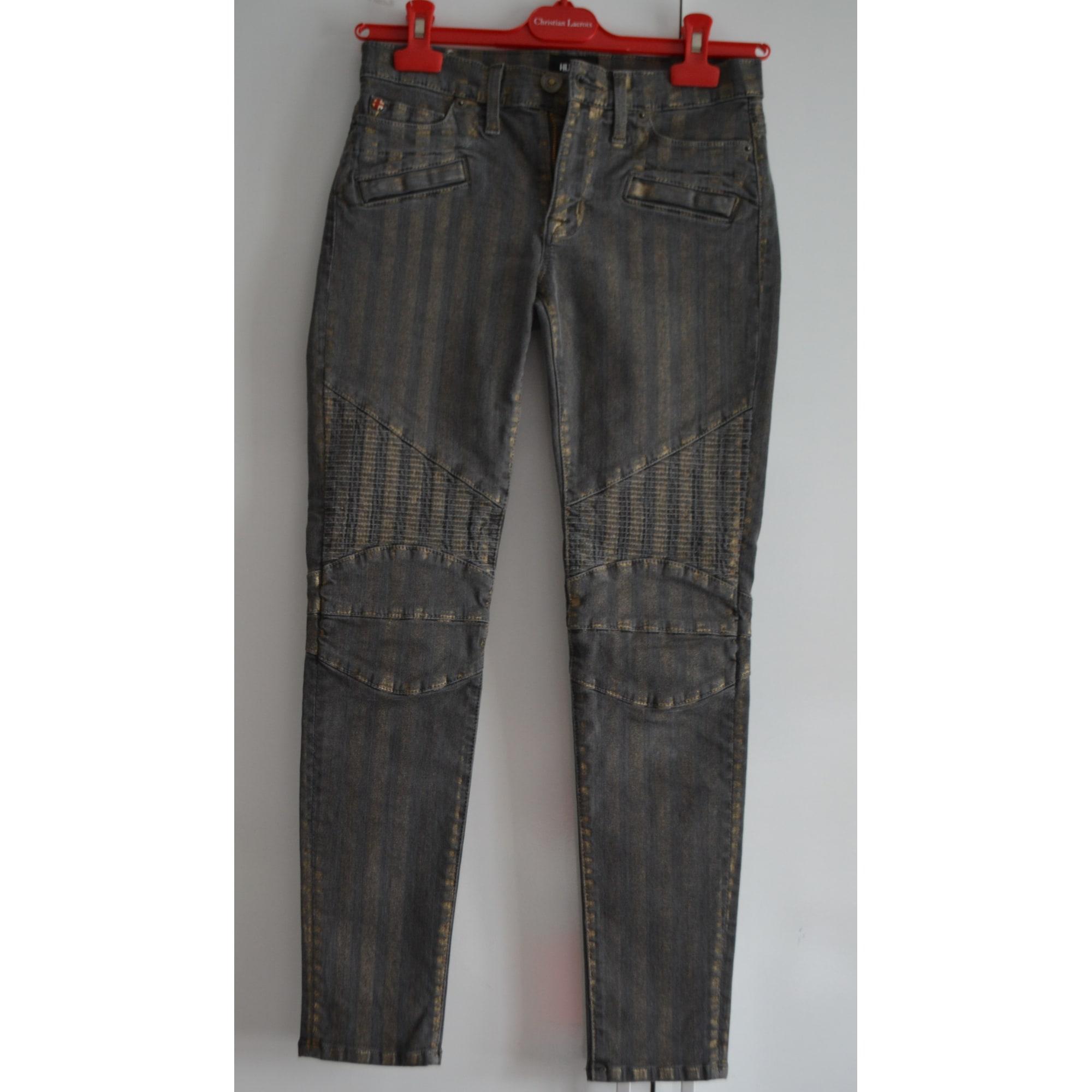 Jeans slim HUDSON JEANS Gris, anthracite
