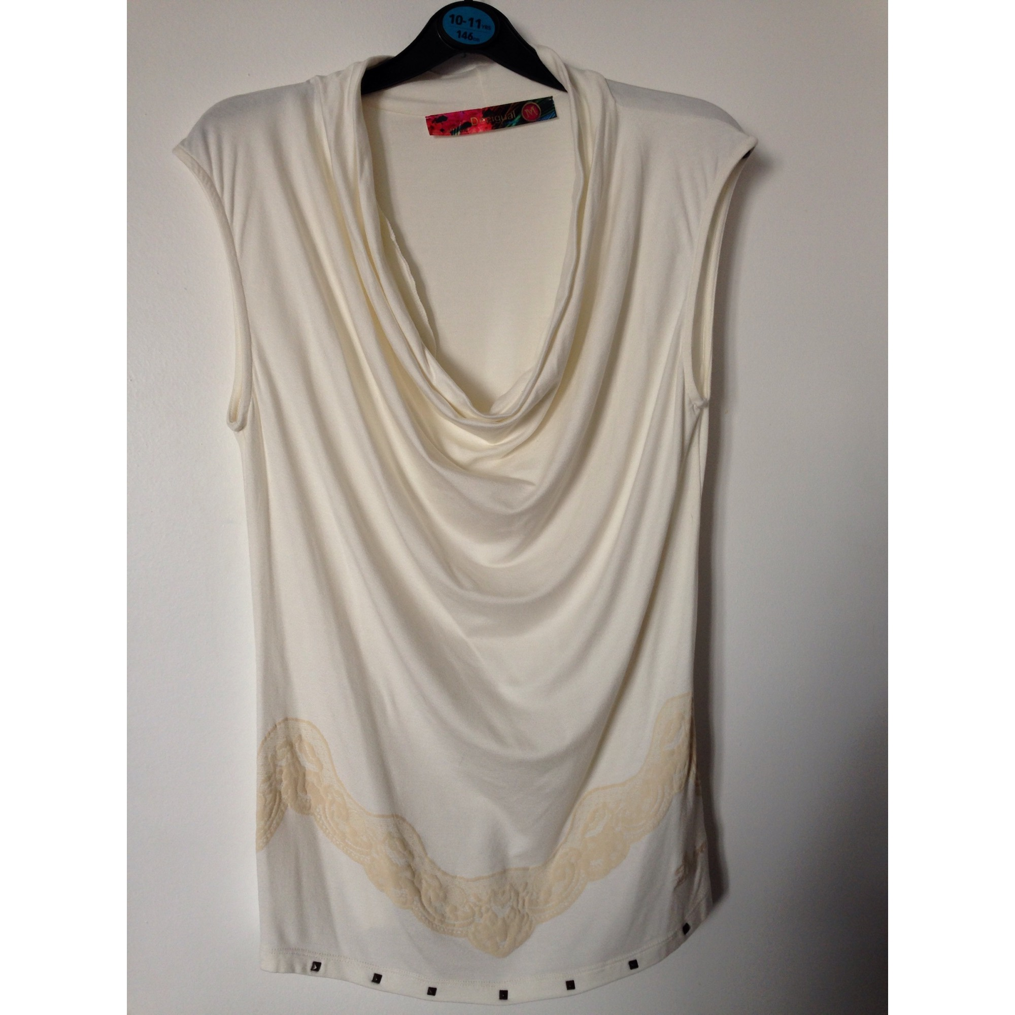 Top, tee-shirt DESIGUAL Blanc, blanc cassé, écru