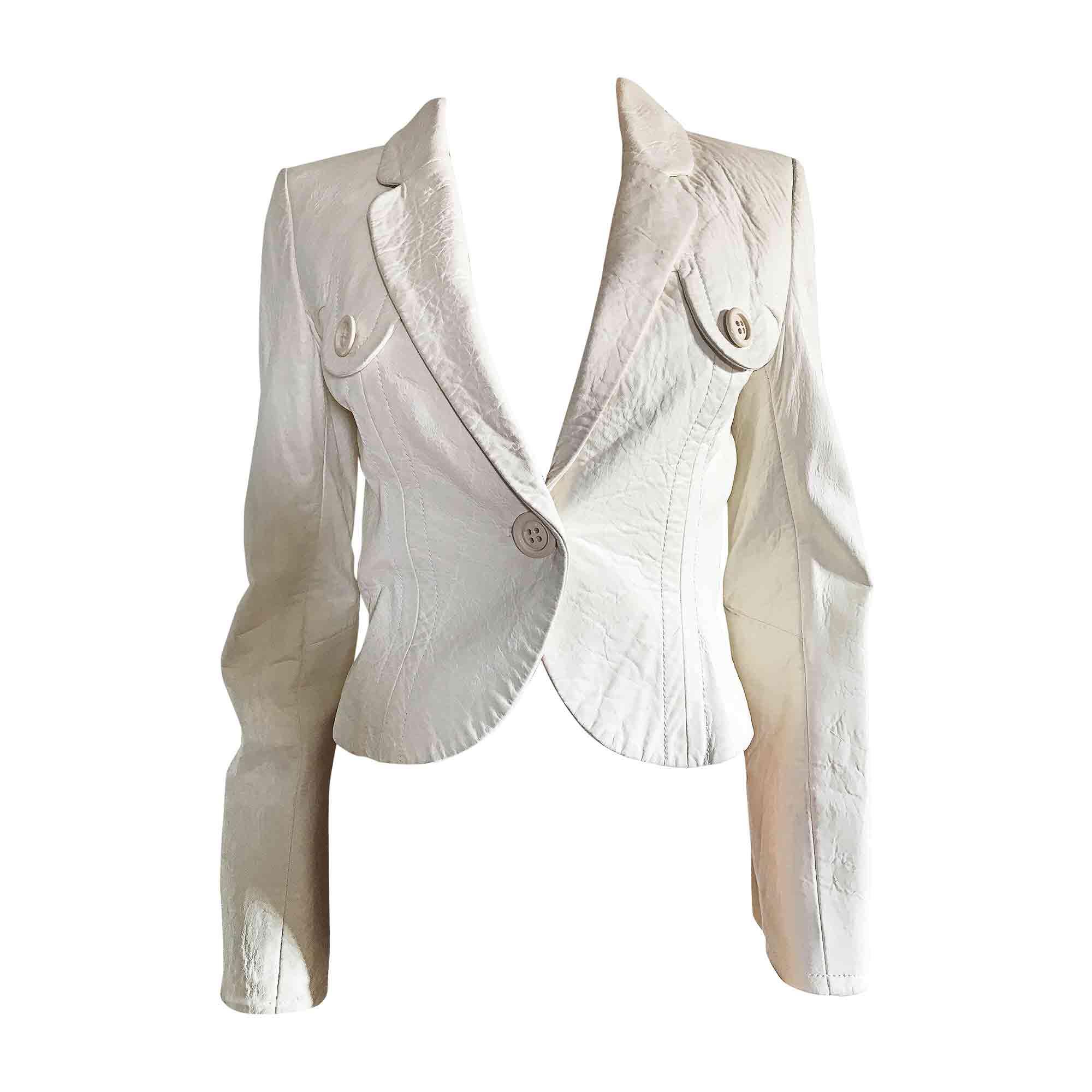 Veste en cuir KENZO Blanc, blanc cassé, écru