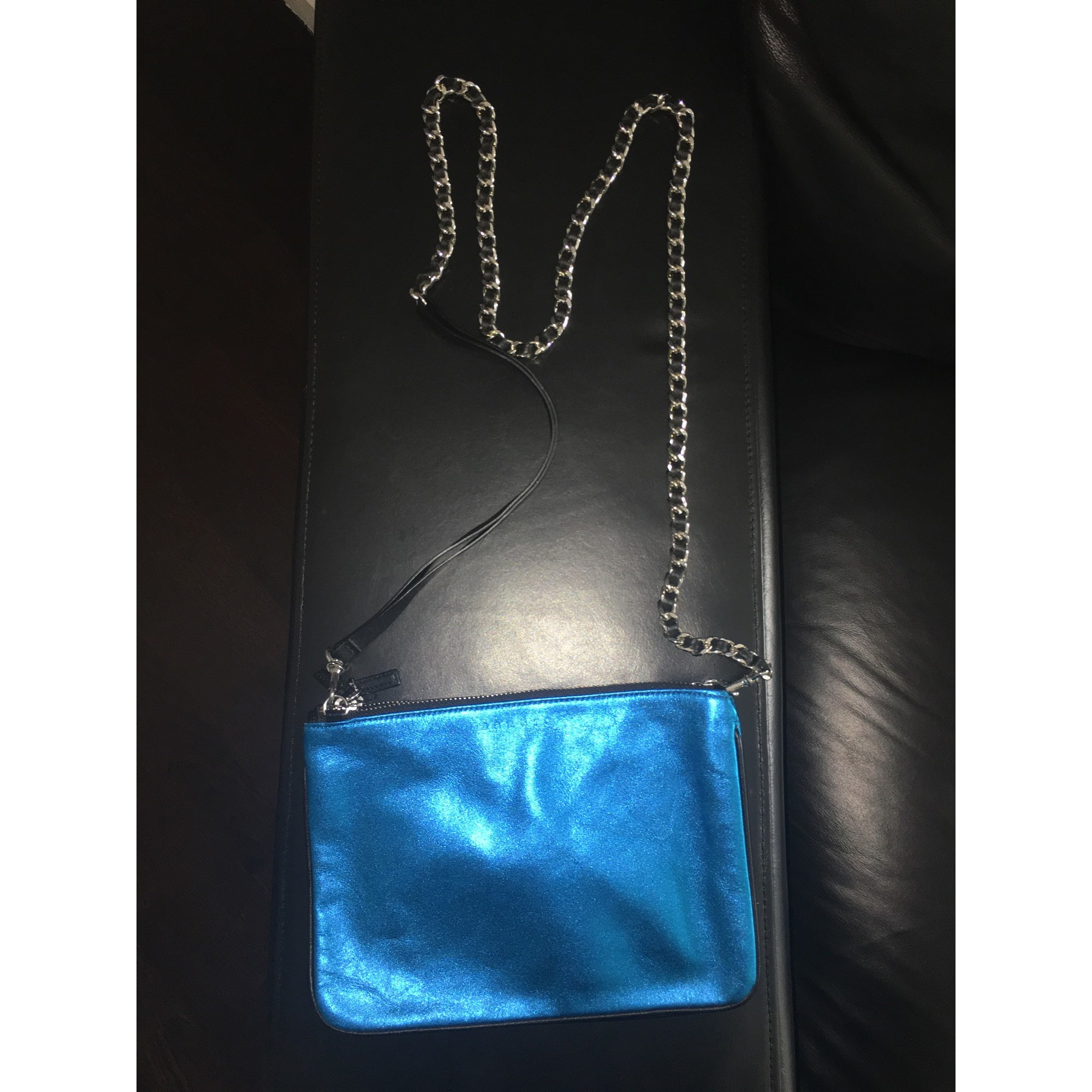 Sac pochette en cuir SANDRO Bleu, bleu marine, bleu turquoise