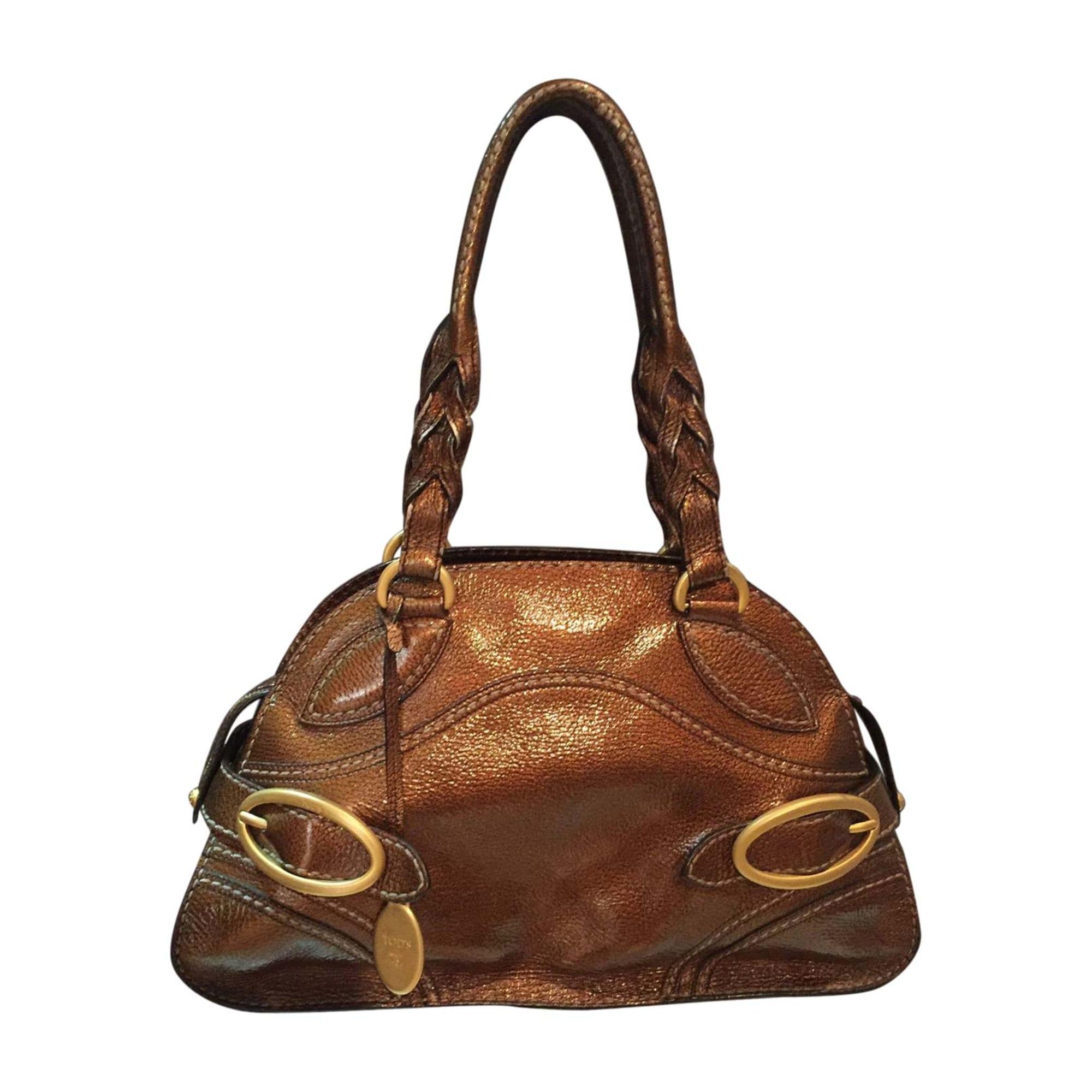 Sac XL en cuir TOD'S Doré, bronze, cuivre