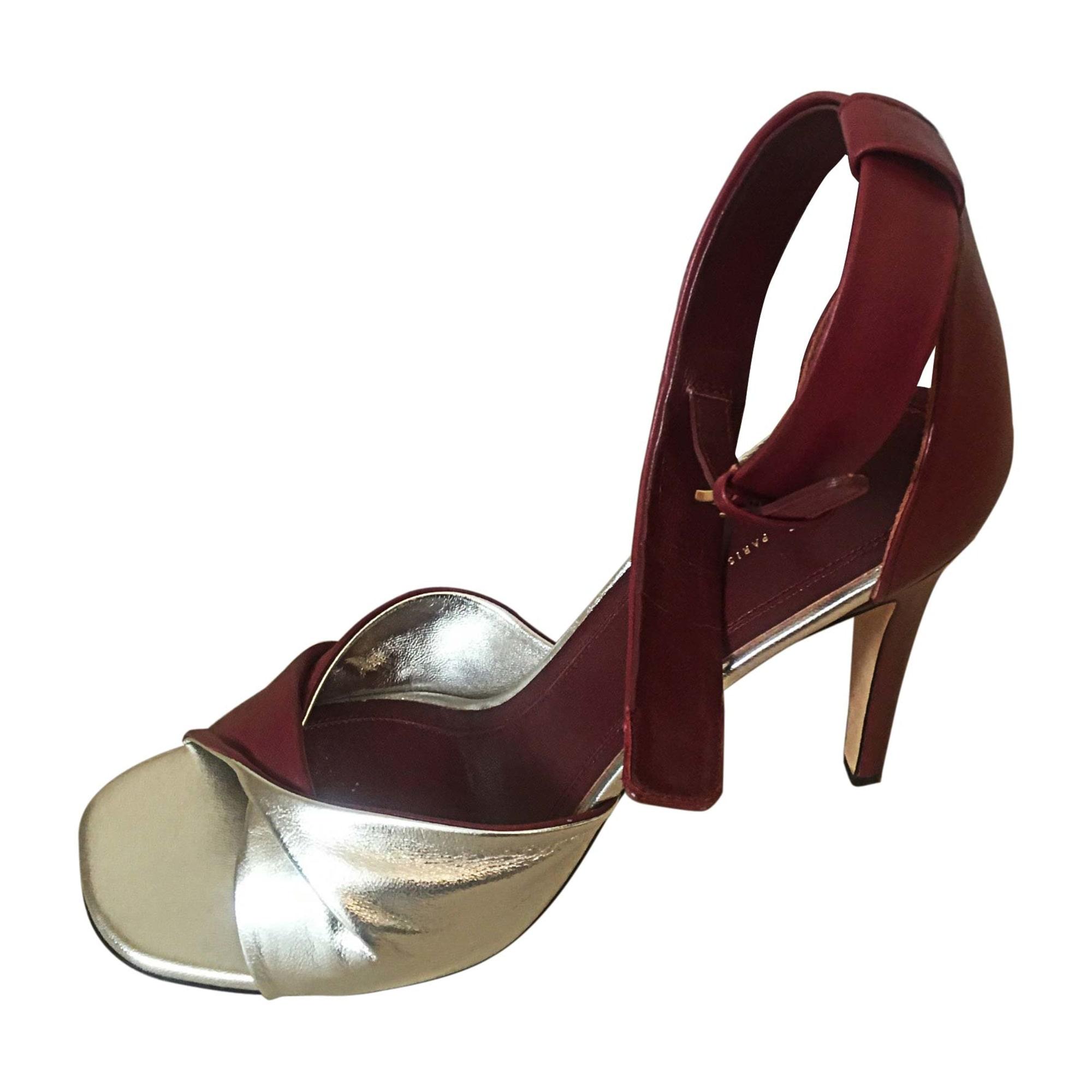 Sandales à talons CÉLINE Rouge, bordeaux