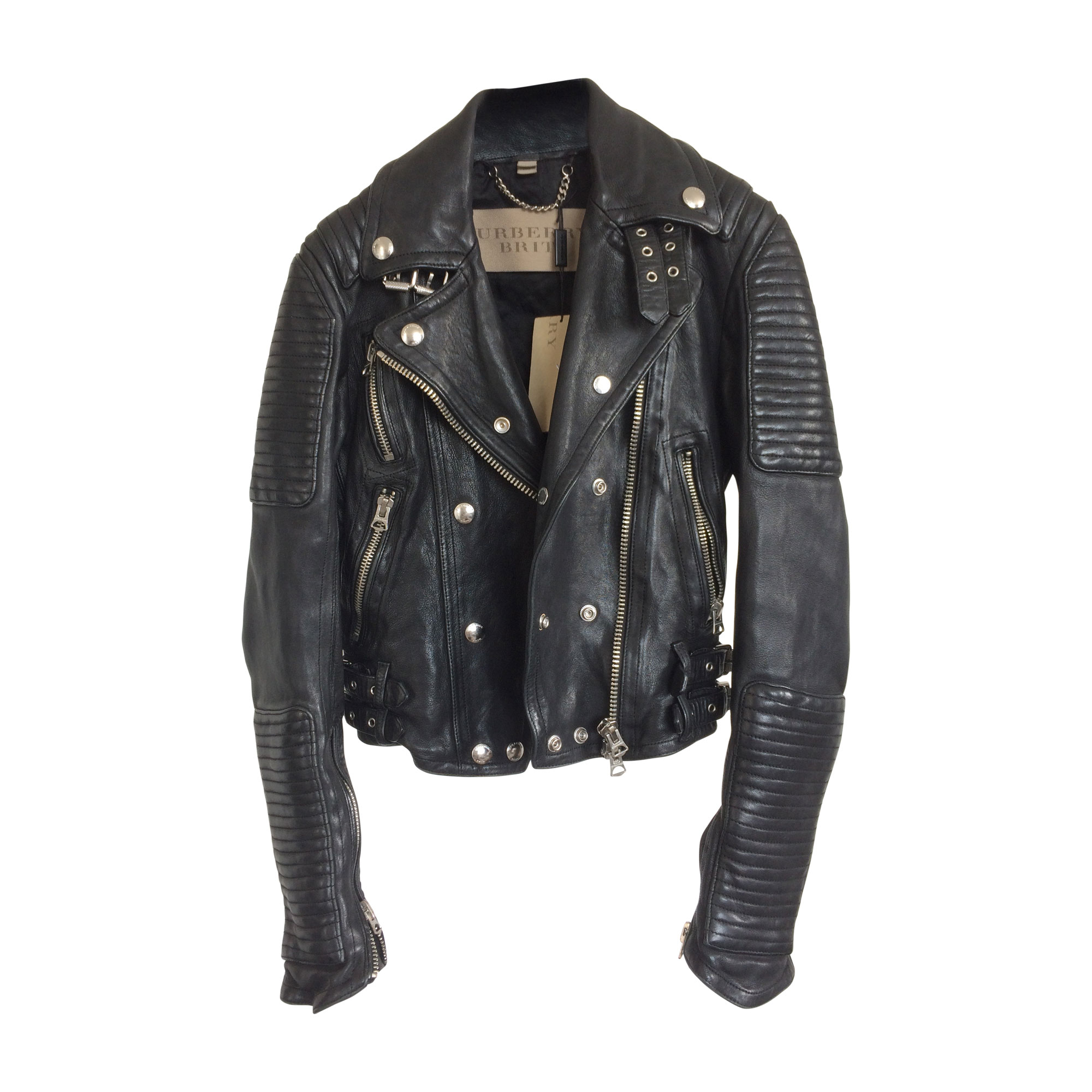 Blouson en cuir BURBERRY 32 (XXS) noir -