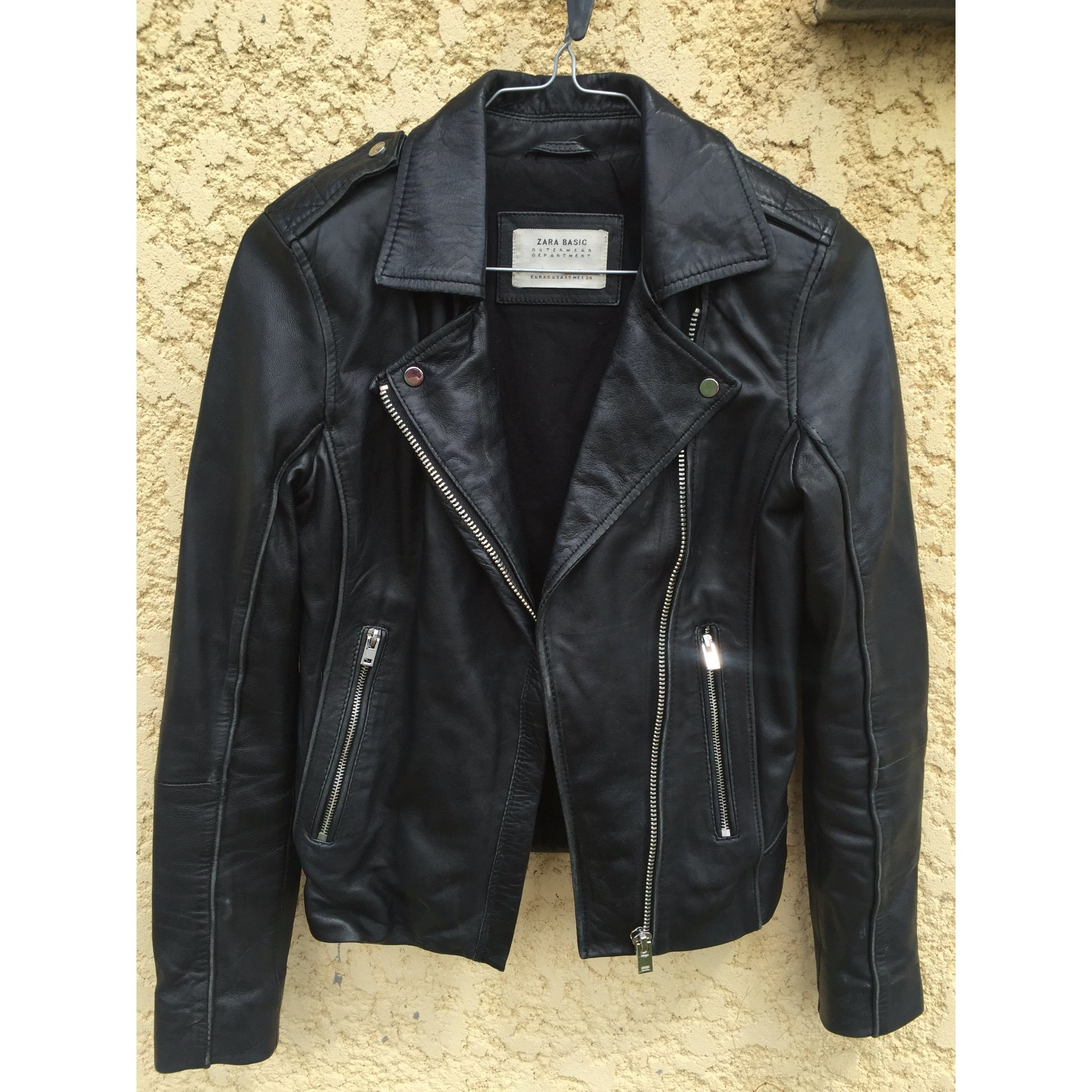 Veste en cuir ZARA 34 (XS, T0) noir 6515985