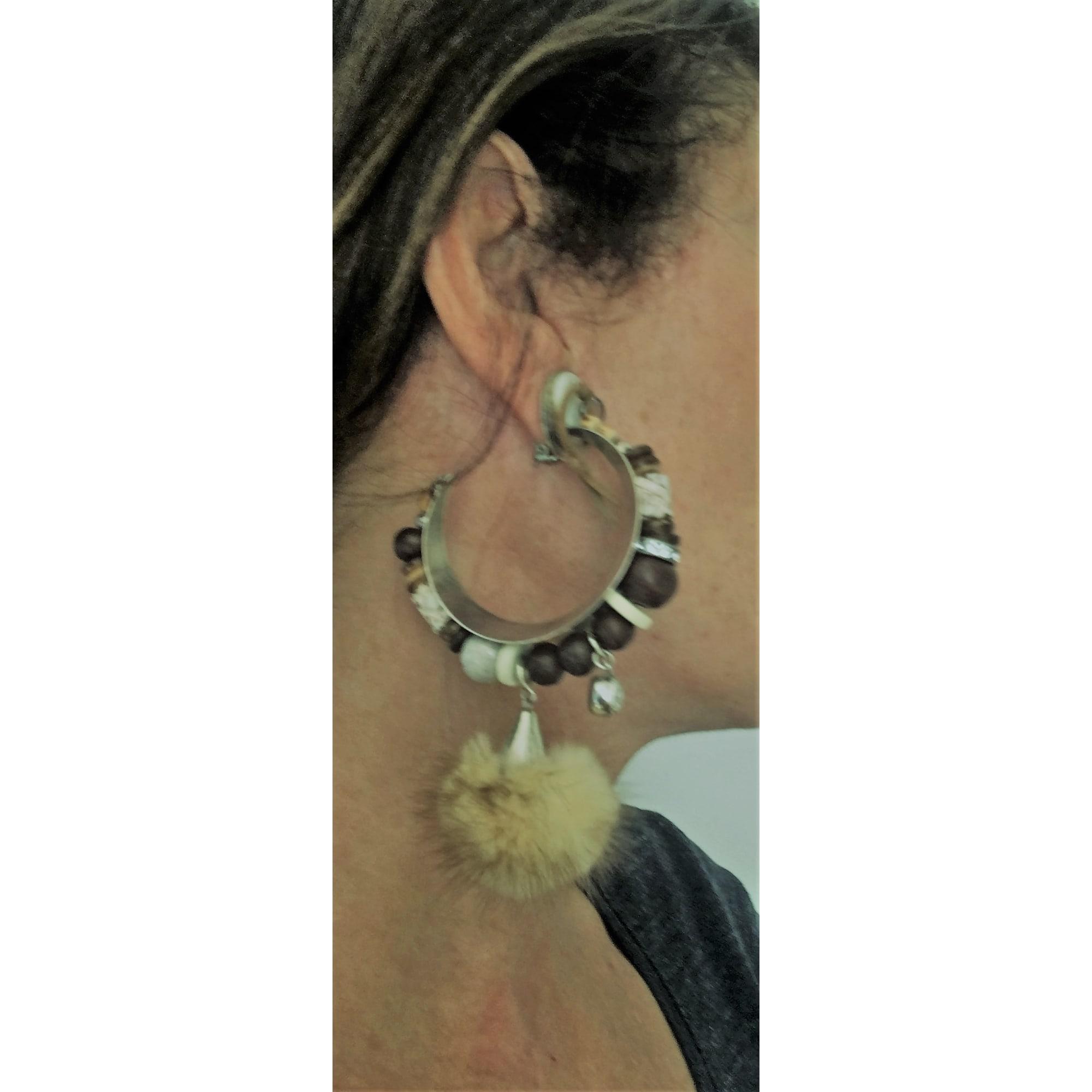 Boucles d'oreille REMINISCENCE Beige, camel
