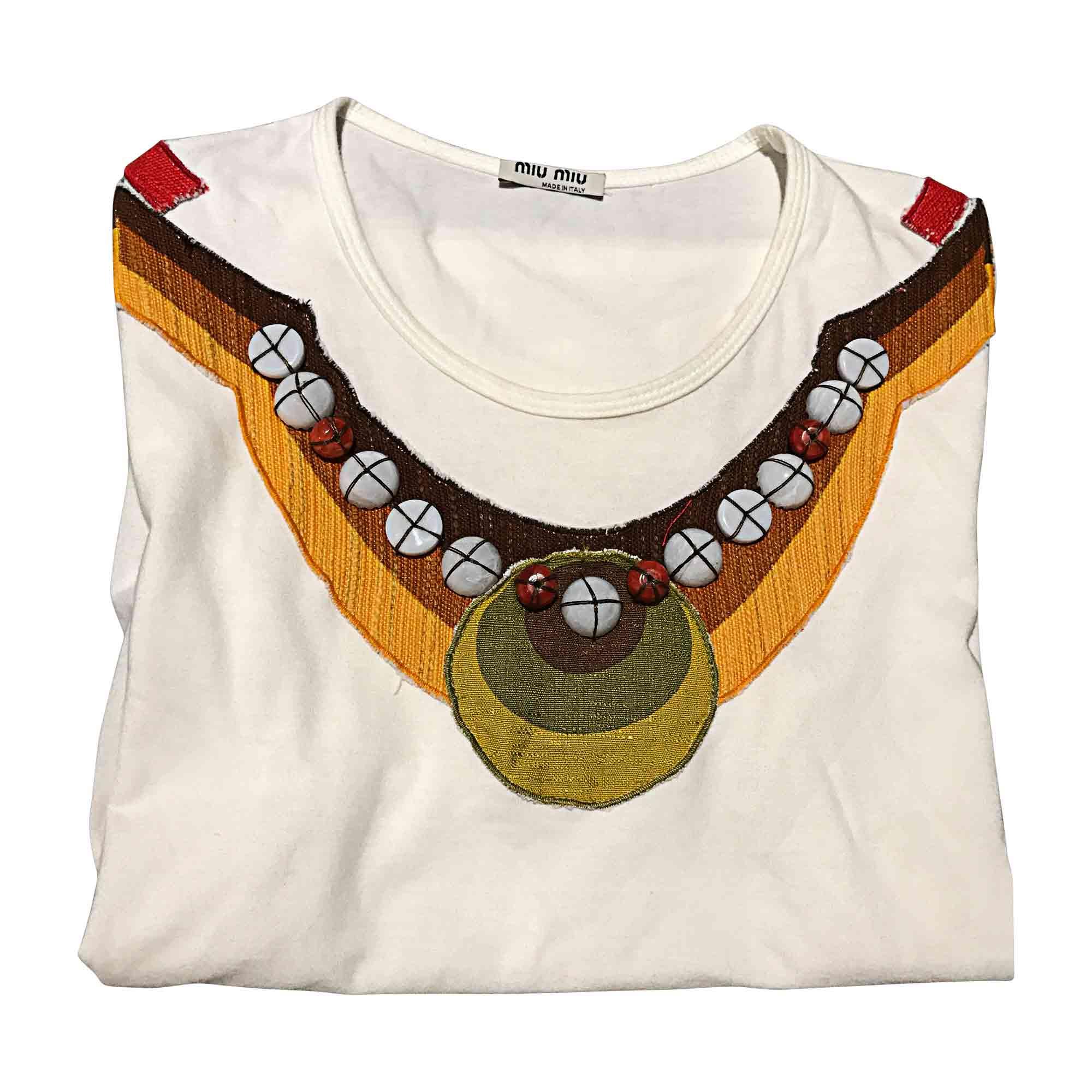 Top, tee-shirt MIU MIU Blanc, blanc cassé, écru