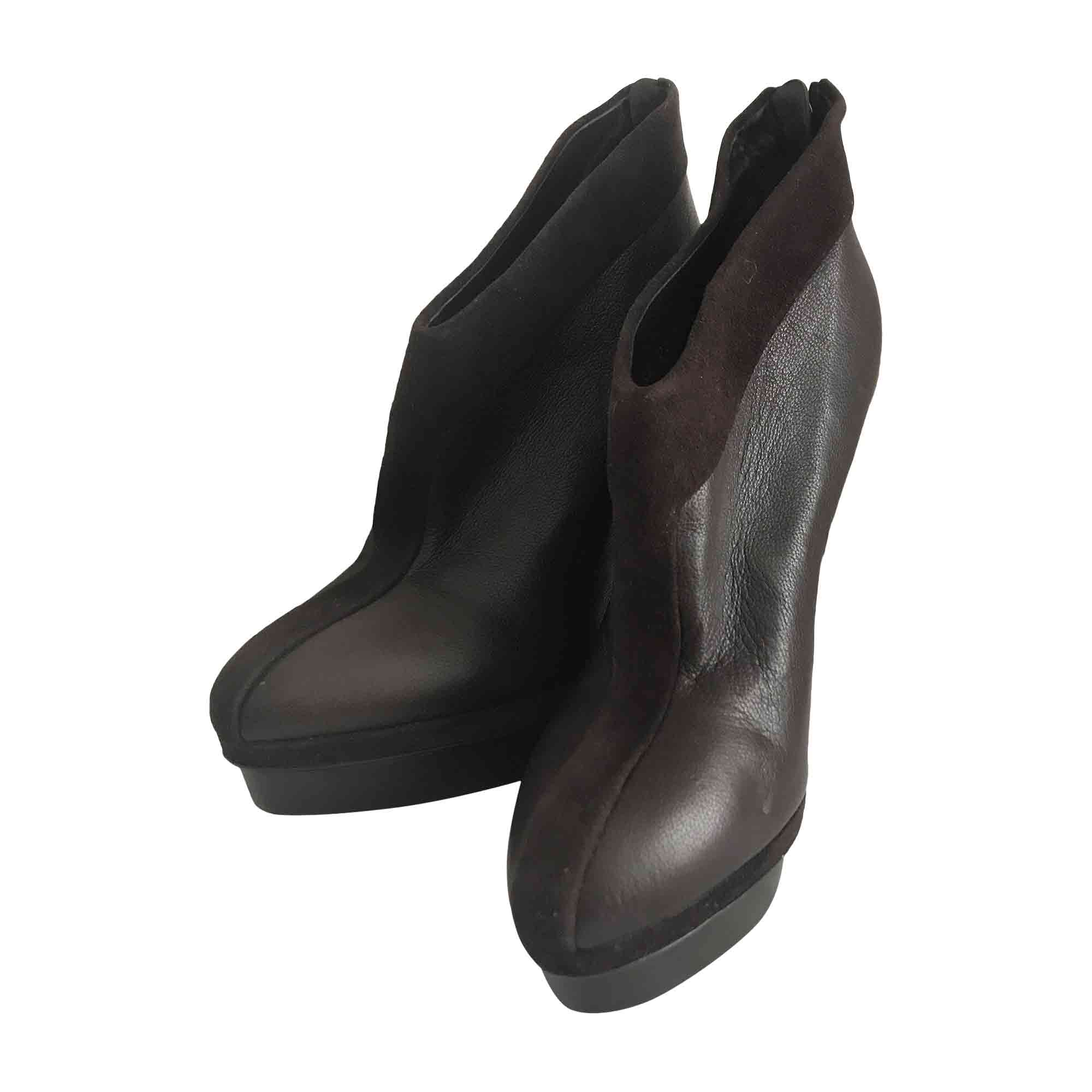 High Heel Ankle Boots YVES SAINT LAURENT Brown
