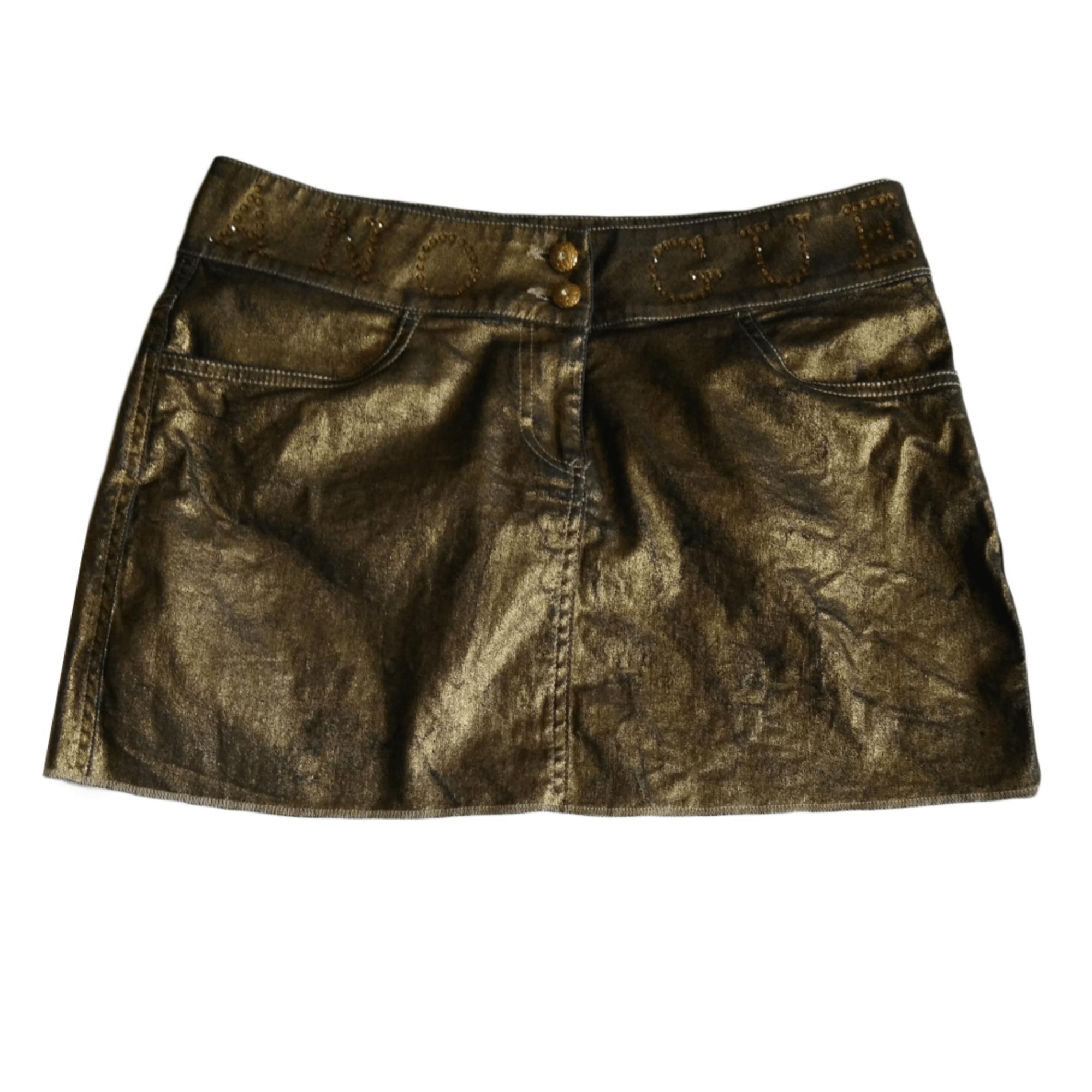 Jupe courte GUESS Doré, bronze, cuivre