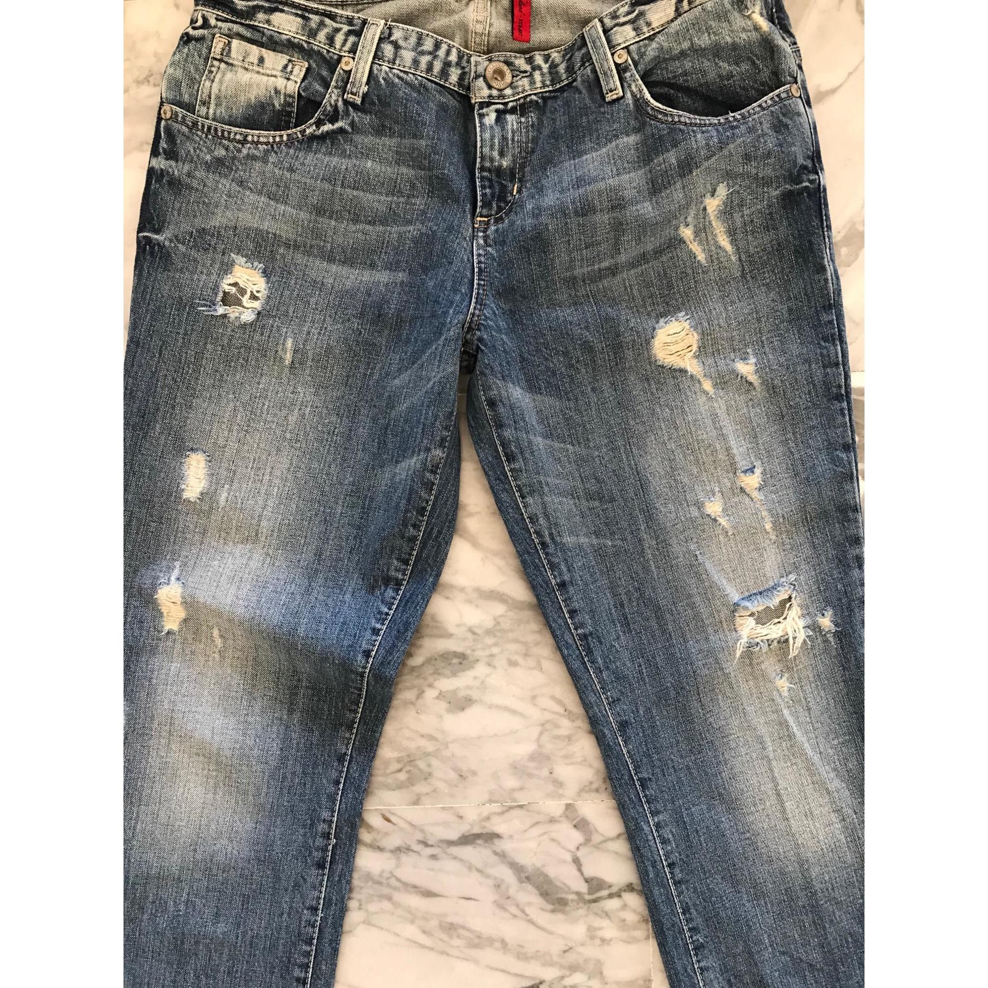Jeans large, boyfriend GUESS Bleu, bleu marine, bleu turquoise