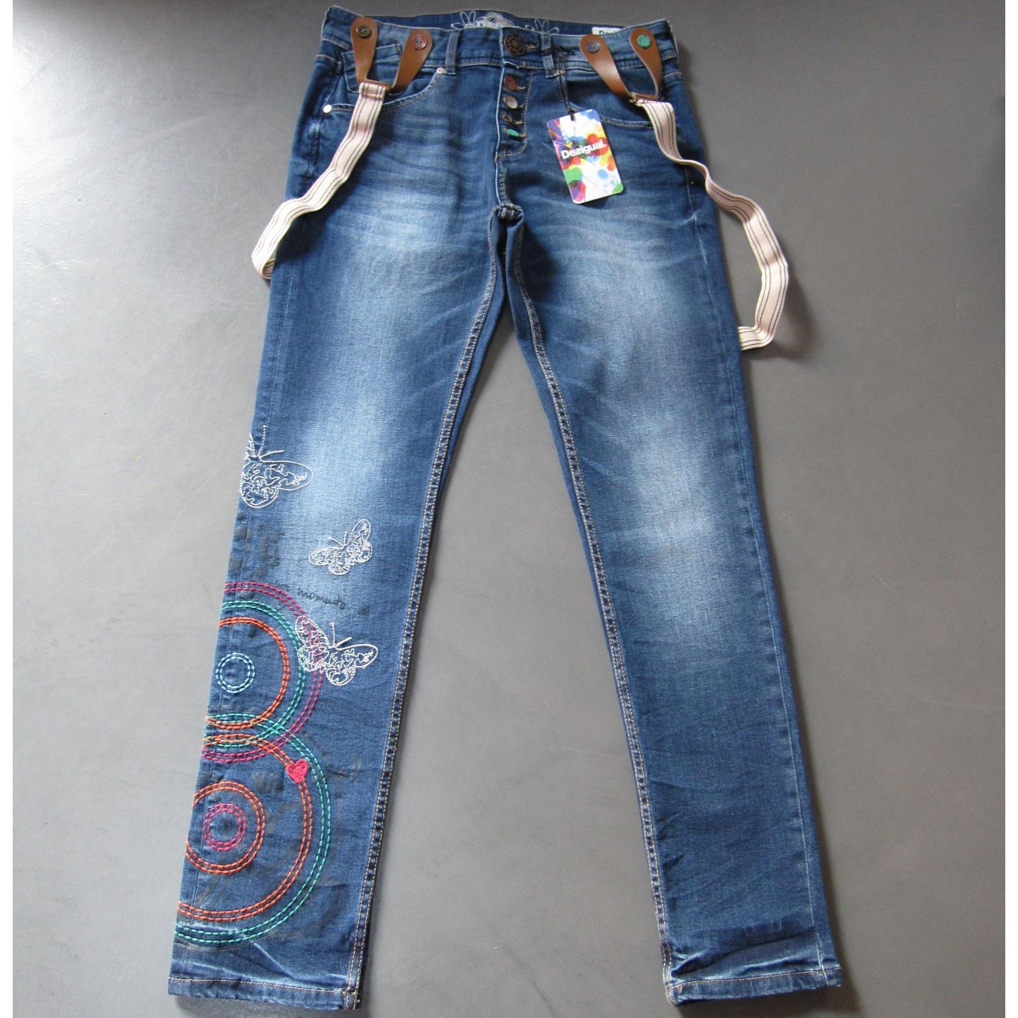 Jeans large, boyfriend DESIGUAL Bleu, bleu marine, bleu turquoise