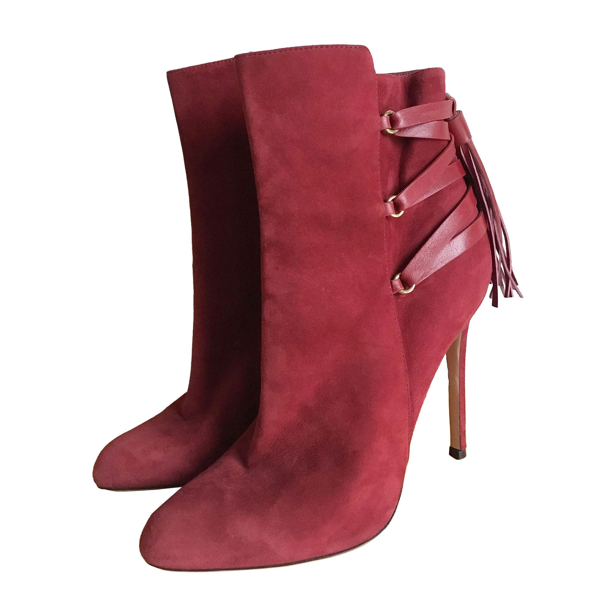 Bottines & low boots à talons GIANVITO ROSSI Rouge, bordeaux