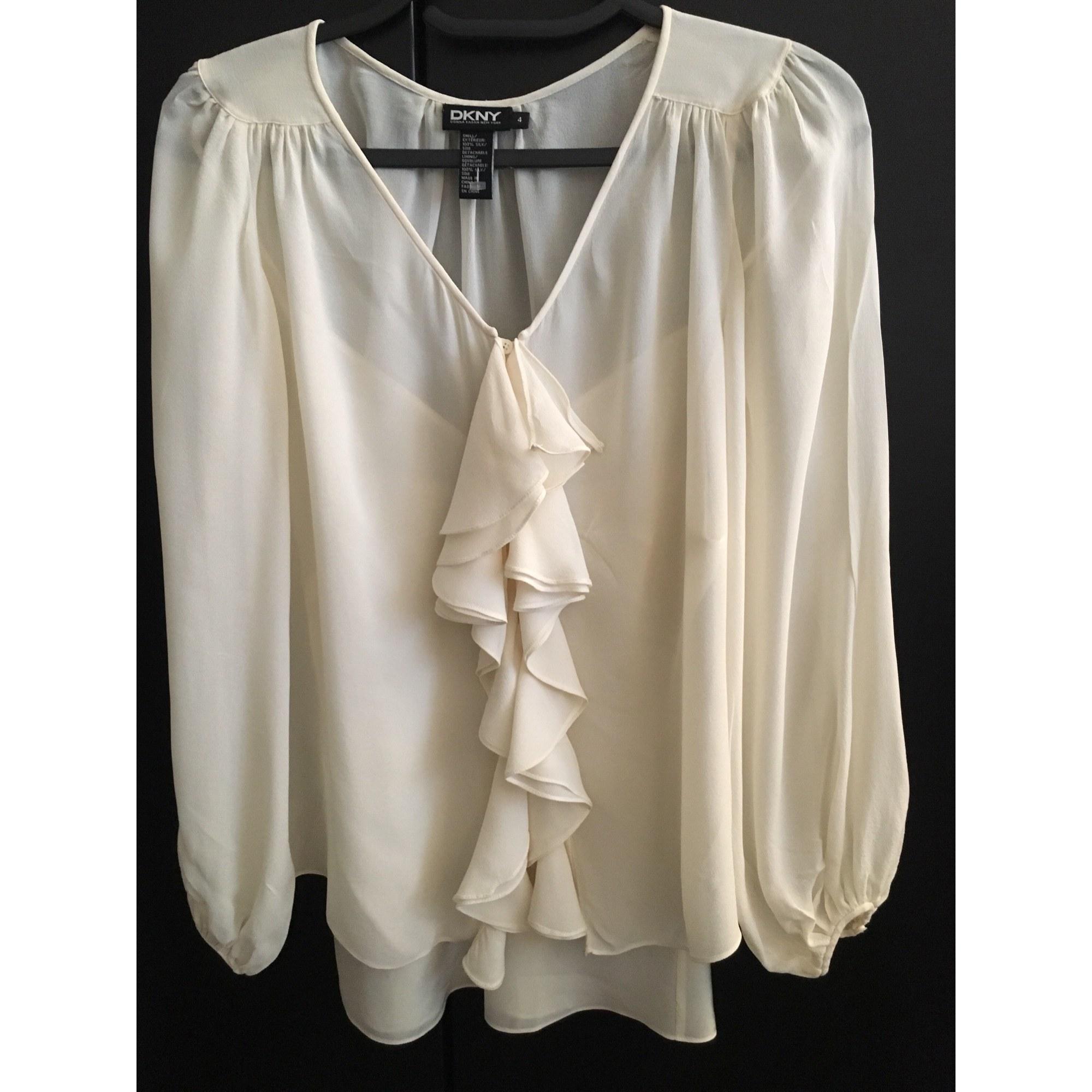 Blouse DKNY Blanc, blanc cassé, écru