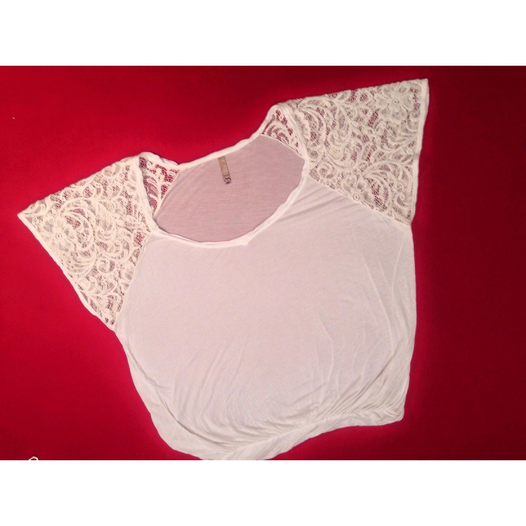 Top, tee-shirt FREE PEOPLE Blanc, blanc cassé, écru