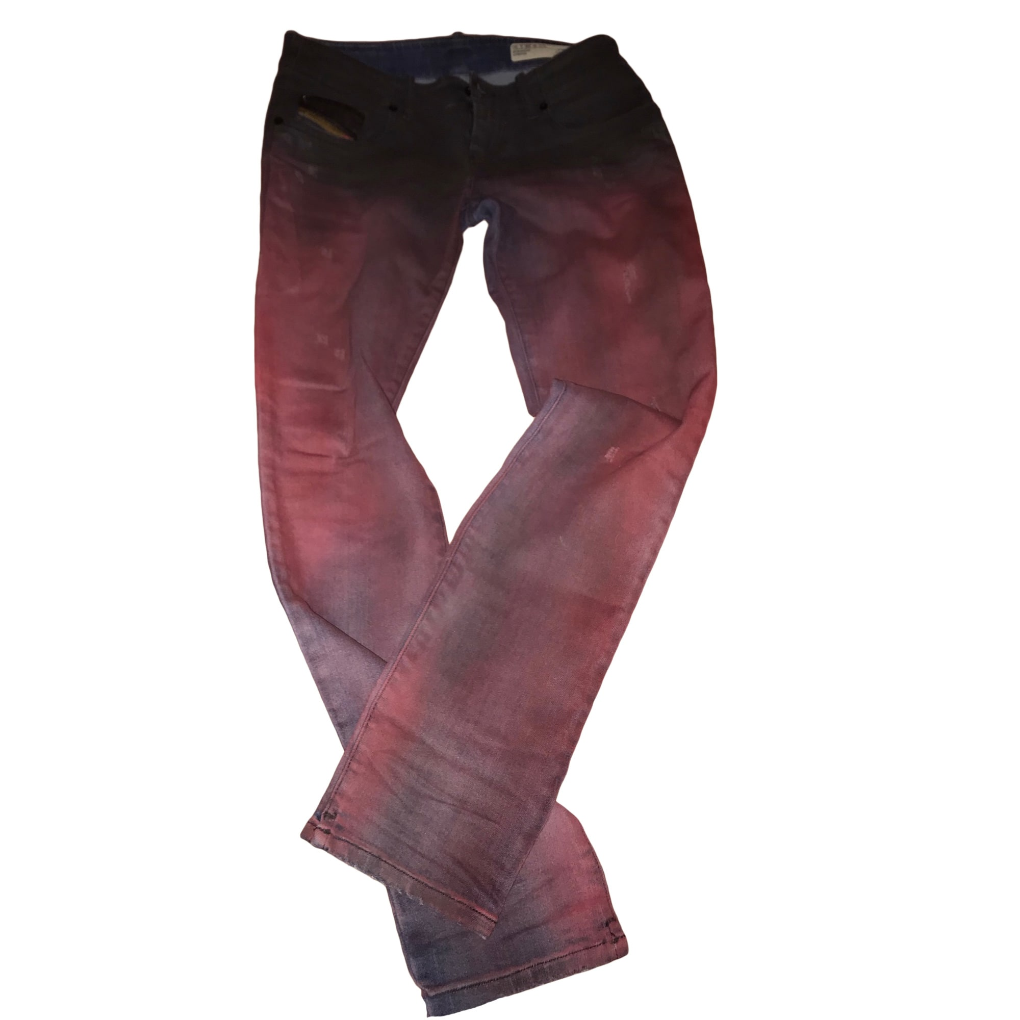 Jeans droit DIESEL Rouge, bordeaux