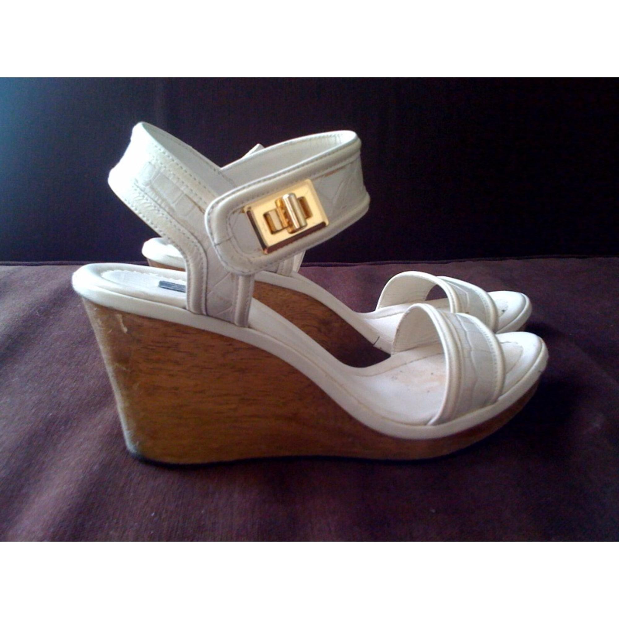 Sandales compensées ZARA Blanc, blanc cassé, écru