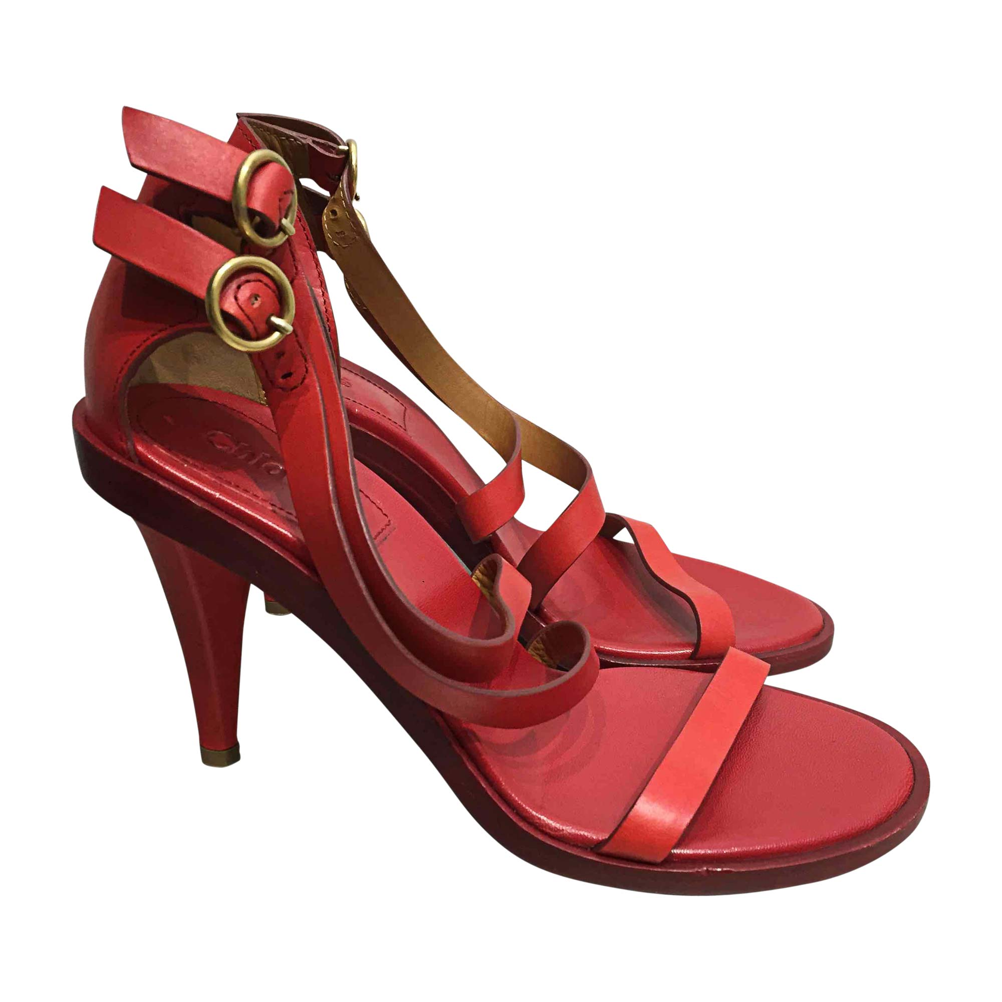 Sandales à talons CHLOÉ Rouge, bordeaux