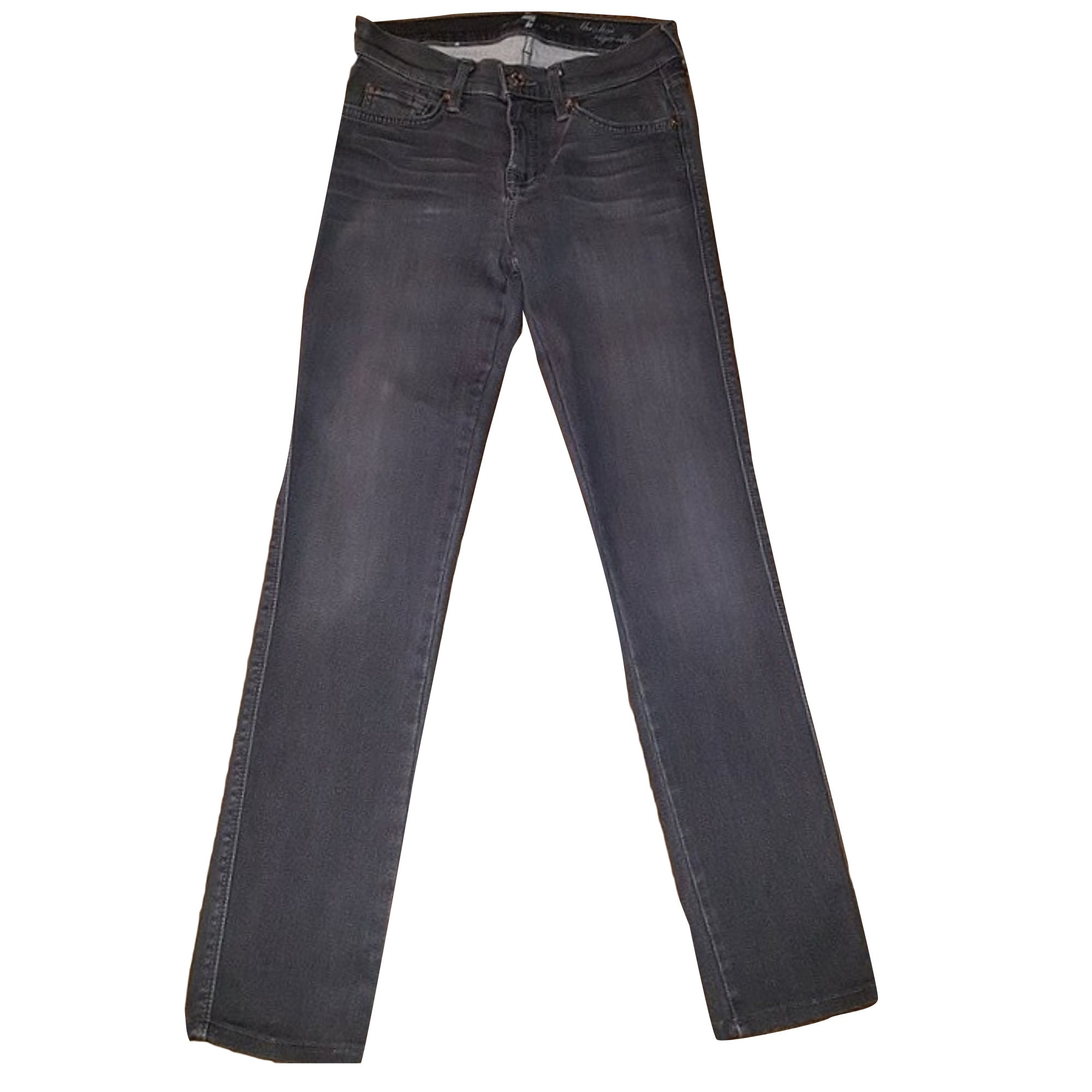 Pantalon slim, cigarette 7 FOR ALL MANKIND Gris, anthracite