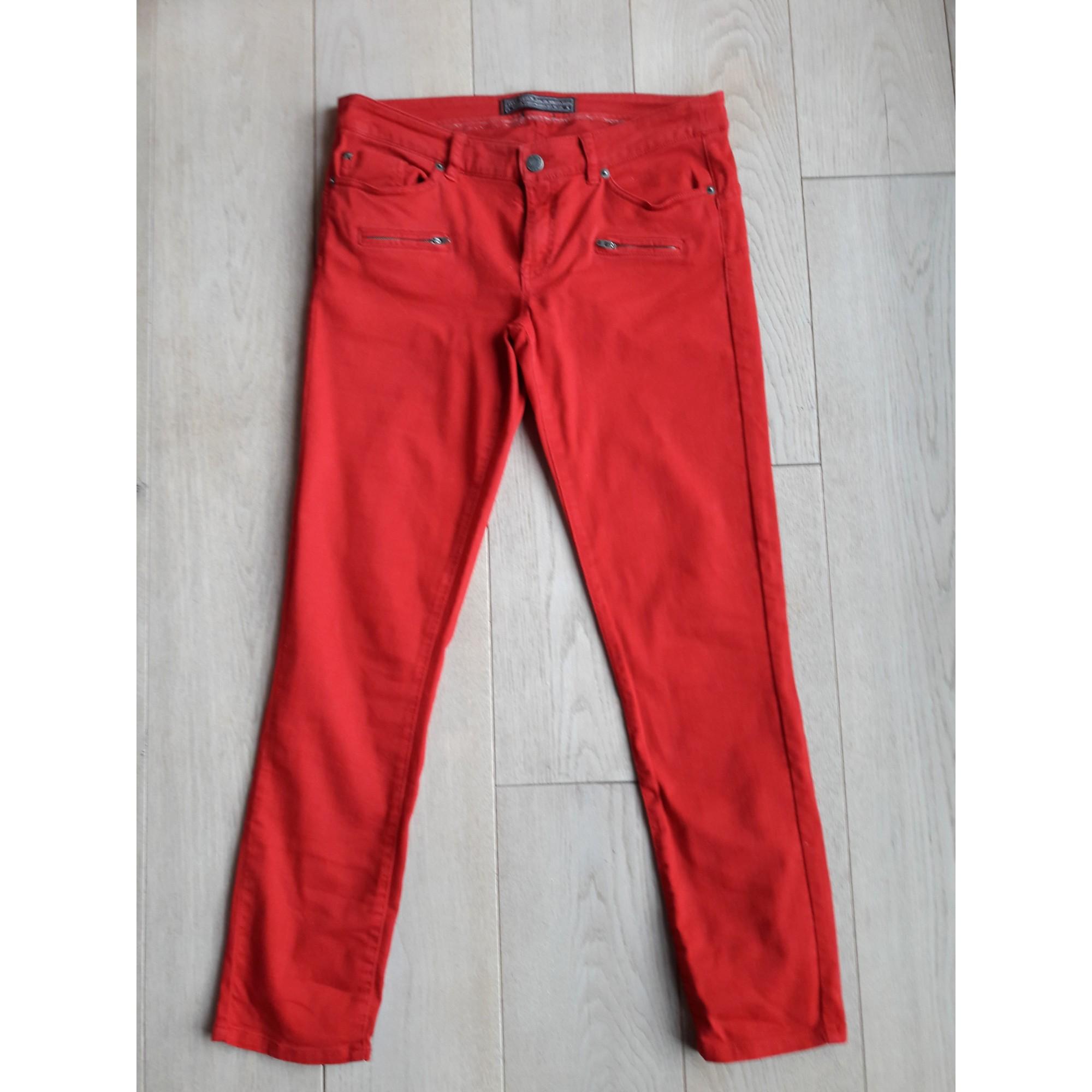 Jeans slim IKKS Rouge, bordeaux