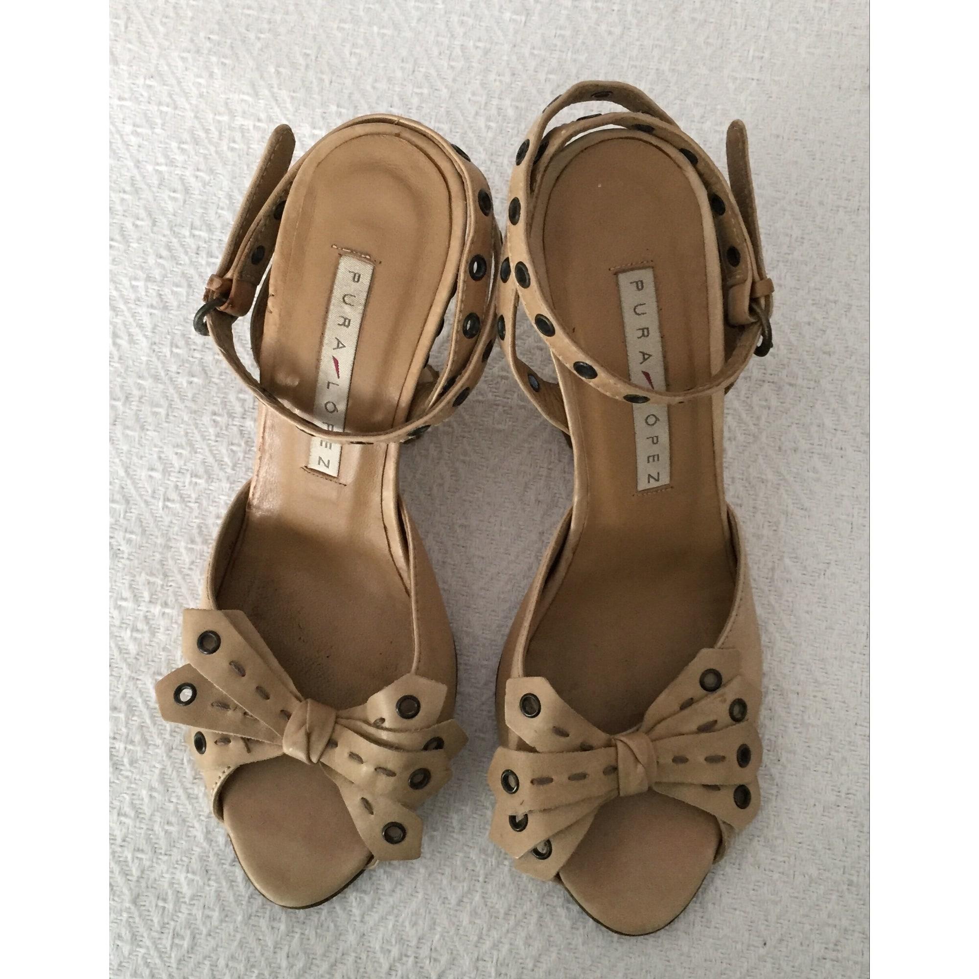 Sandales compensées PURA LOPEZ Beige, camel