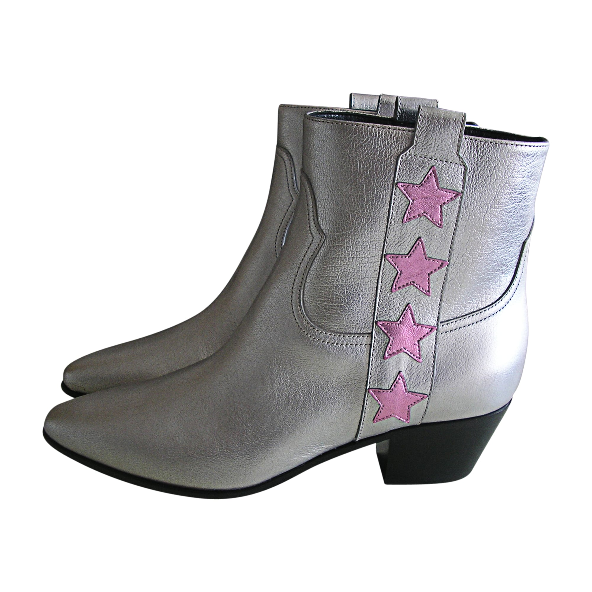 High Heel Ankle Boots SAINT LAURENT Silver