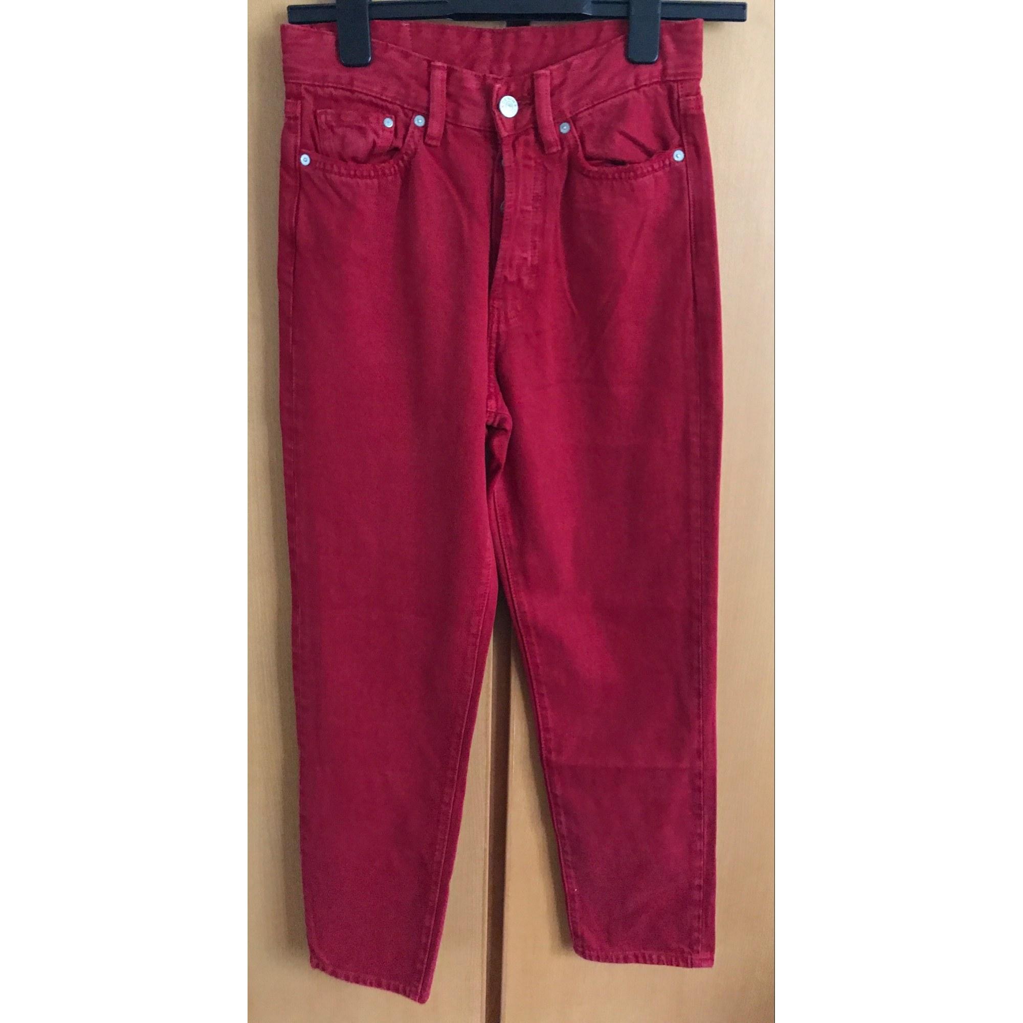 Jeans droit H&M Rouge, bordeaux
