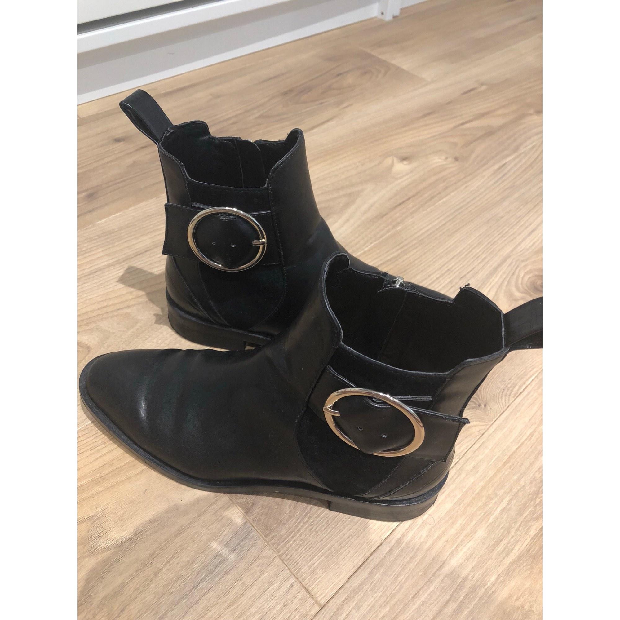 bottine noir boucle dore