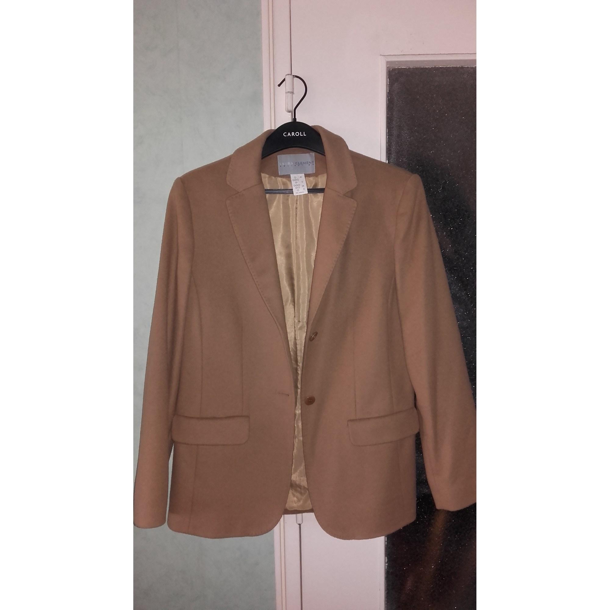 Blazer, veste tailleur LAURA CLÉMENT marron chamois