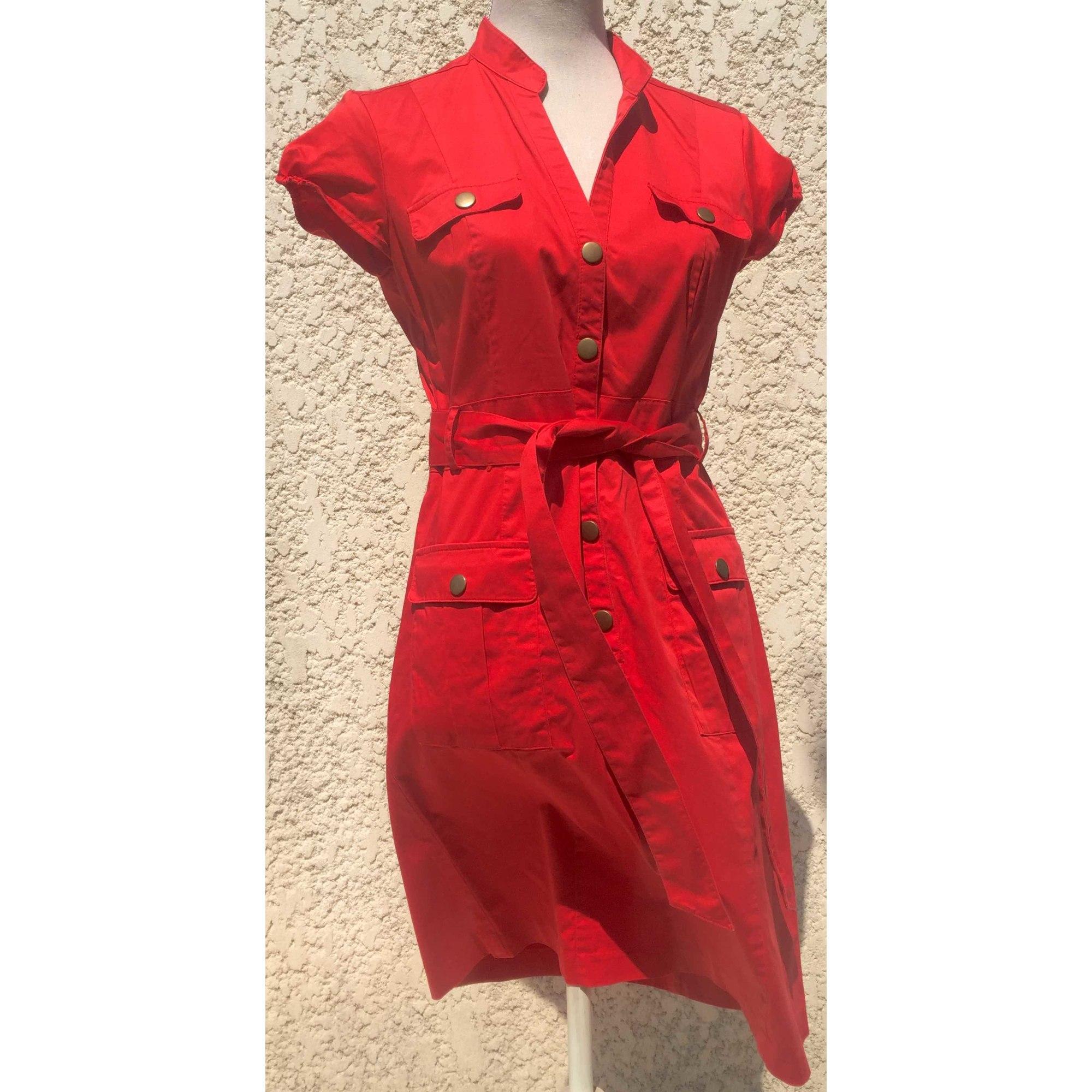 Robe Mi Longue H M 40 L T3 Rouge 7589480
