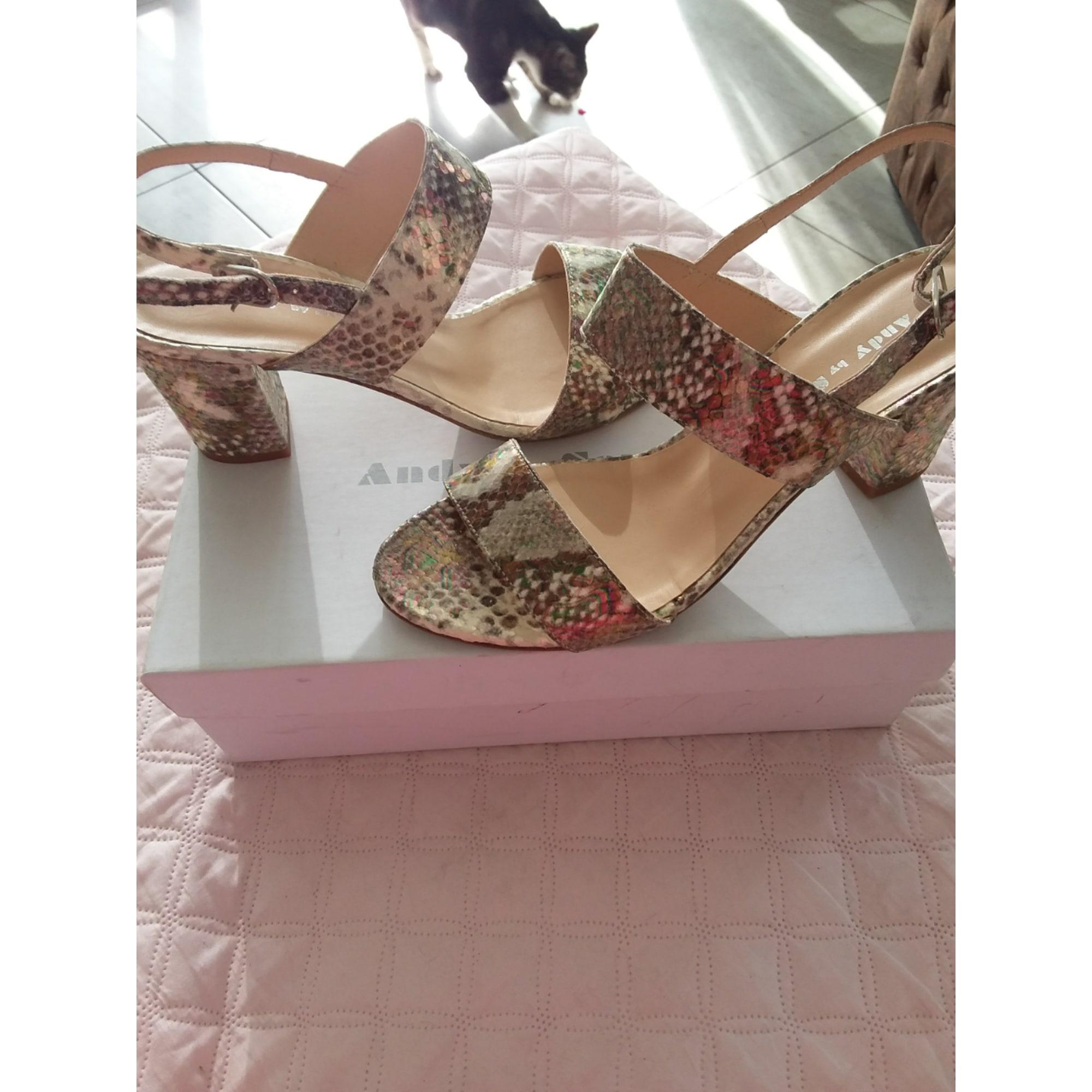 Sandales à talons ANDY BY SEMER blanc cassé bronze doré