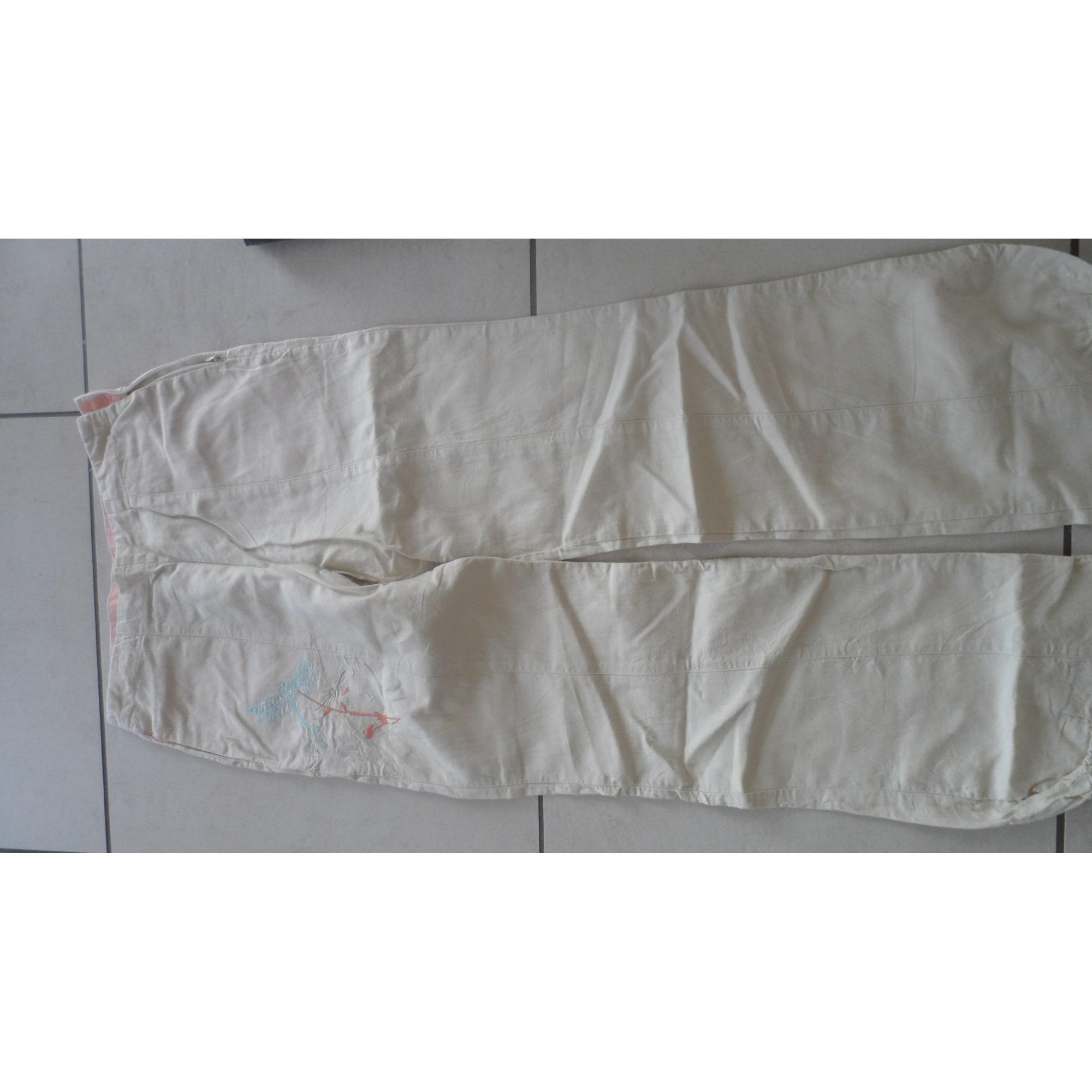 Pantalon droit KENZO Blanc, blanc cassé, écru