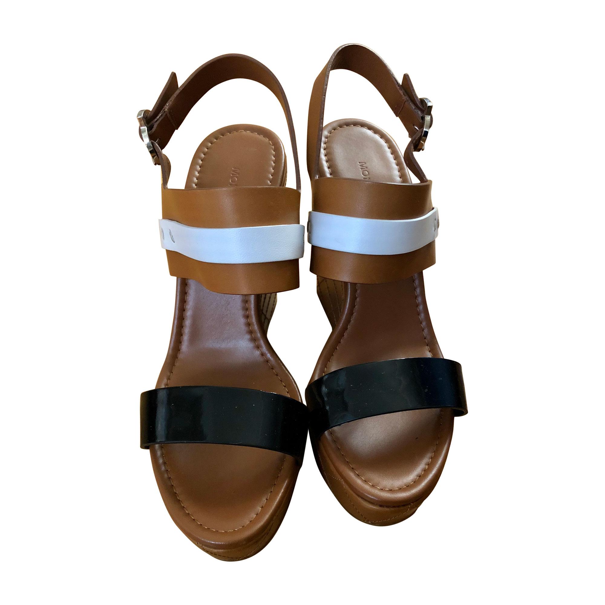 Sandales compensées MONCLER Marron