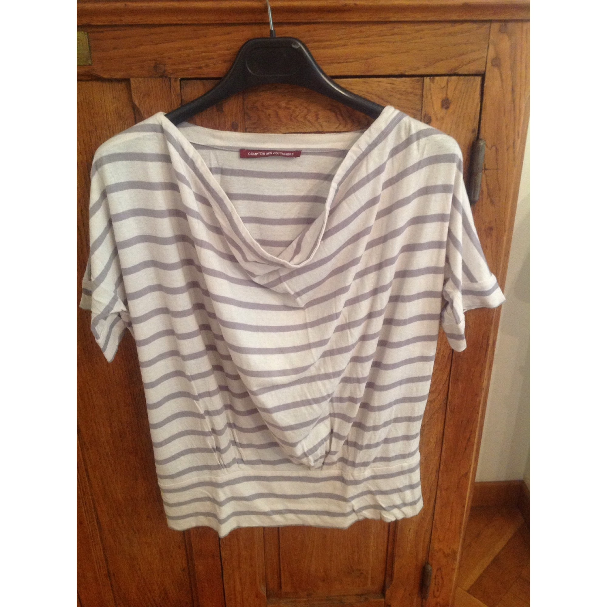 Top, tee-shirt COMPTOIR DES COTONNIERS Rayé blanc/gris