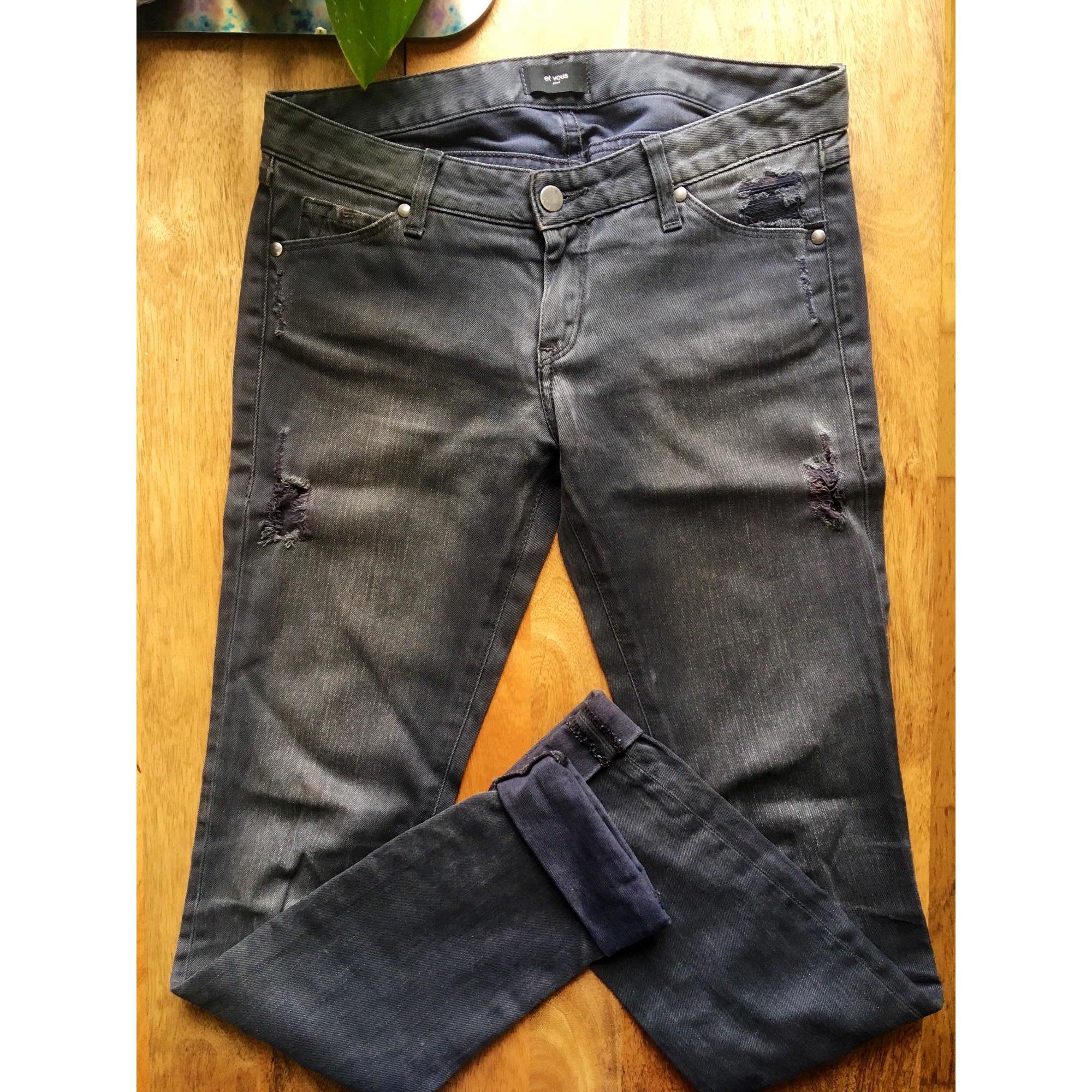 Pantalon droit ET VOUS Gris, anthracite