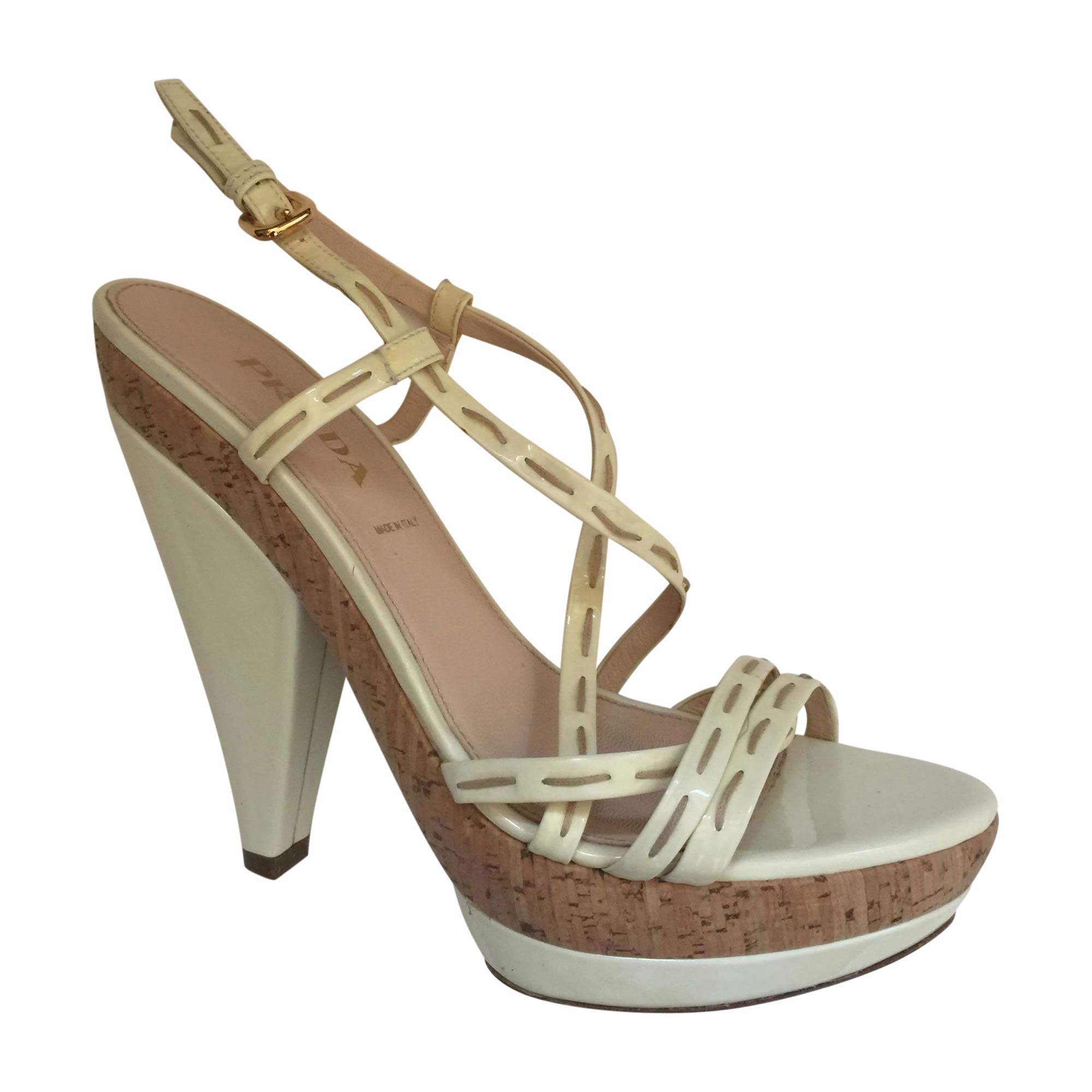 Sandales à talons PRADA Blanc, blanc cassé, écru