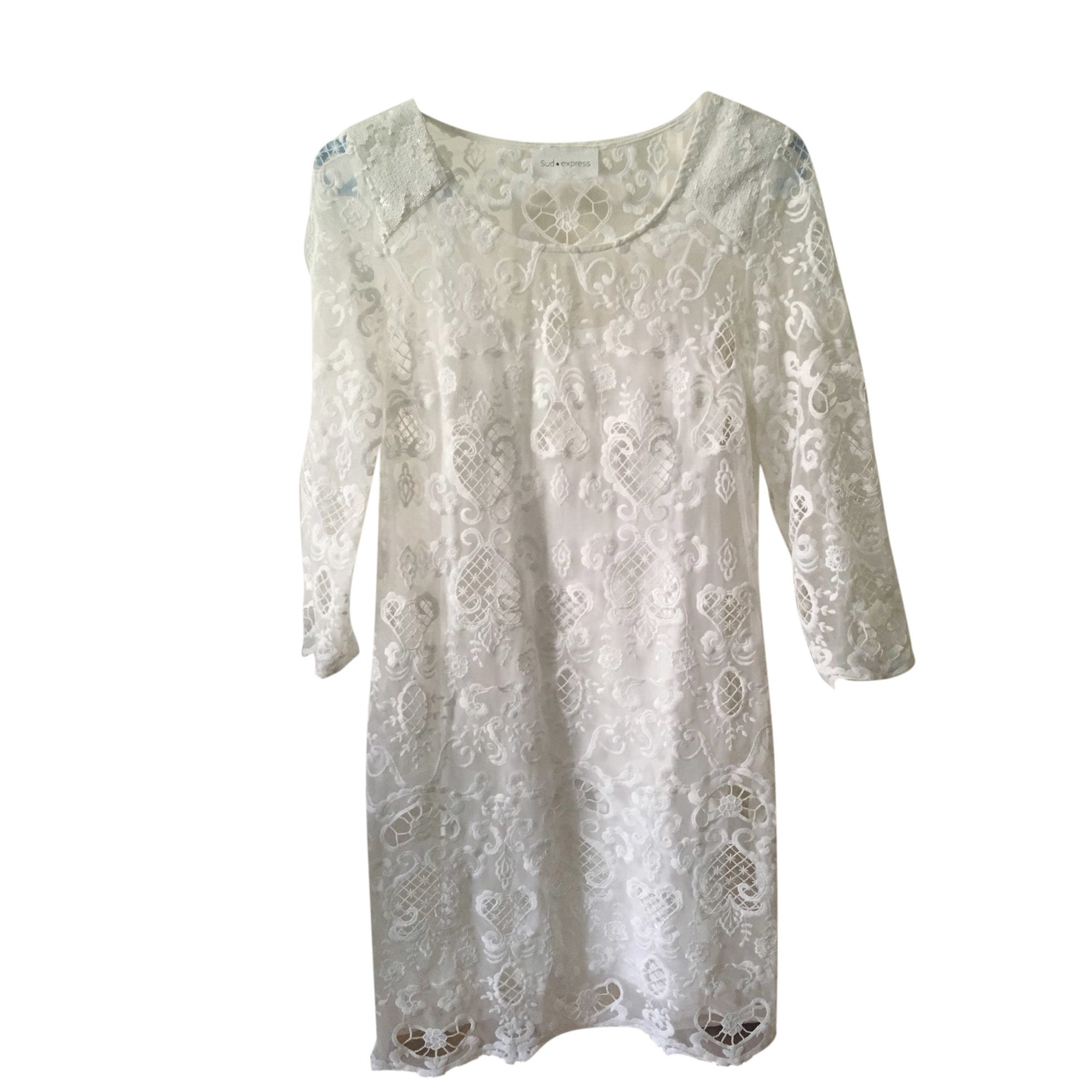 Robe courte SUD EXPRESS Blanc, blanc cassé, écru