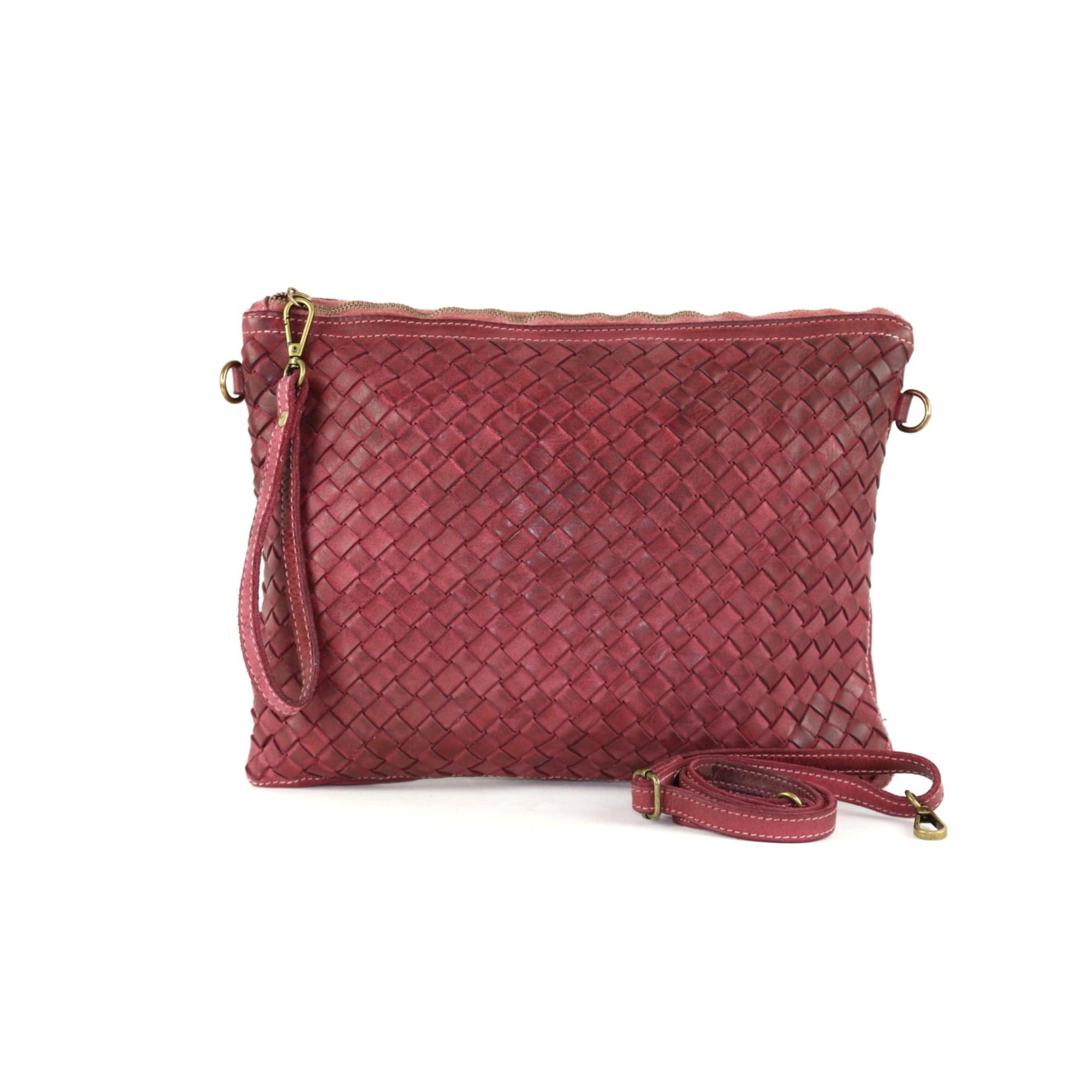 Lederhandtasche MADE IN ITALIE Rot, bordeauxrot