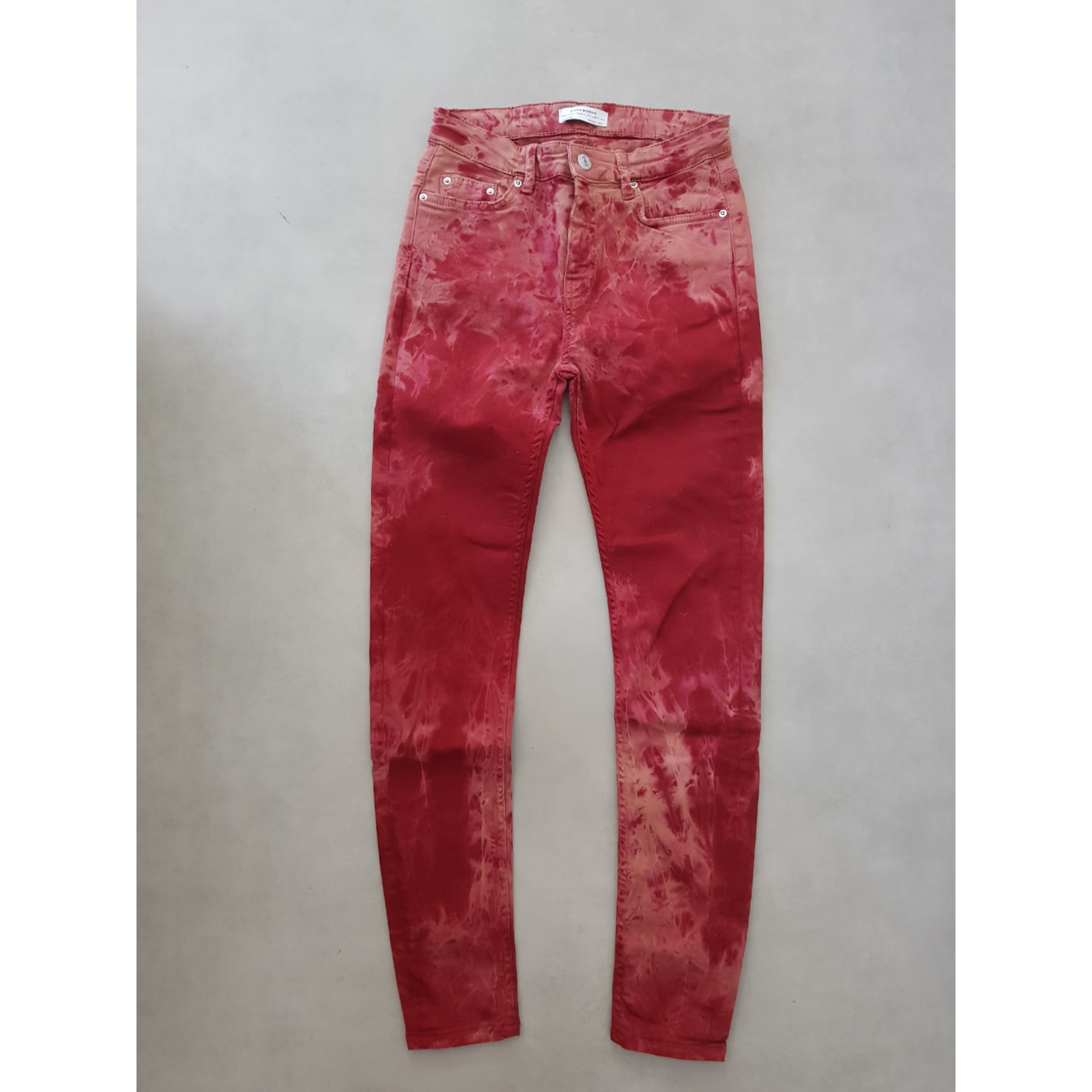 Jeans slim ZARA Rouge, bordeaux