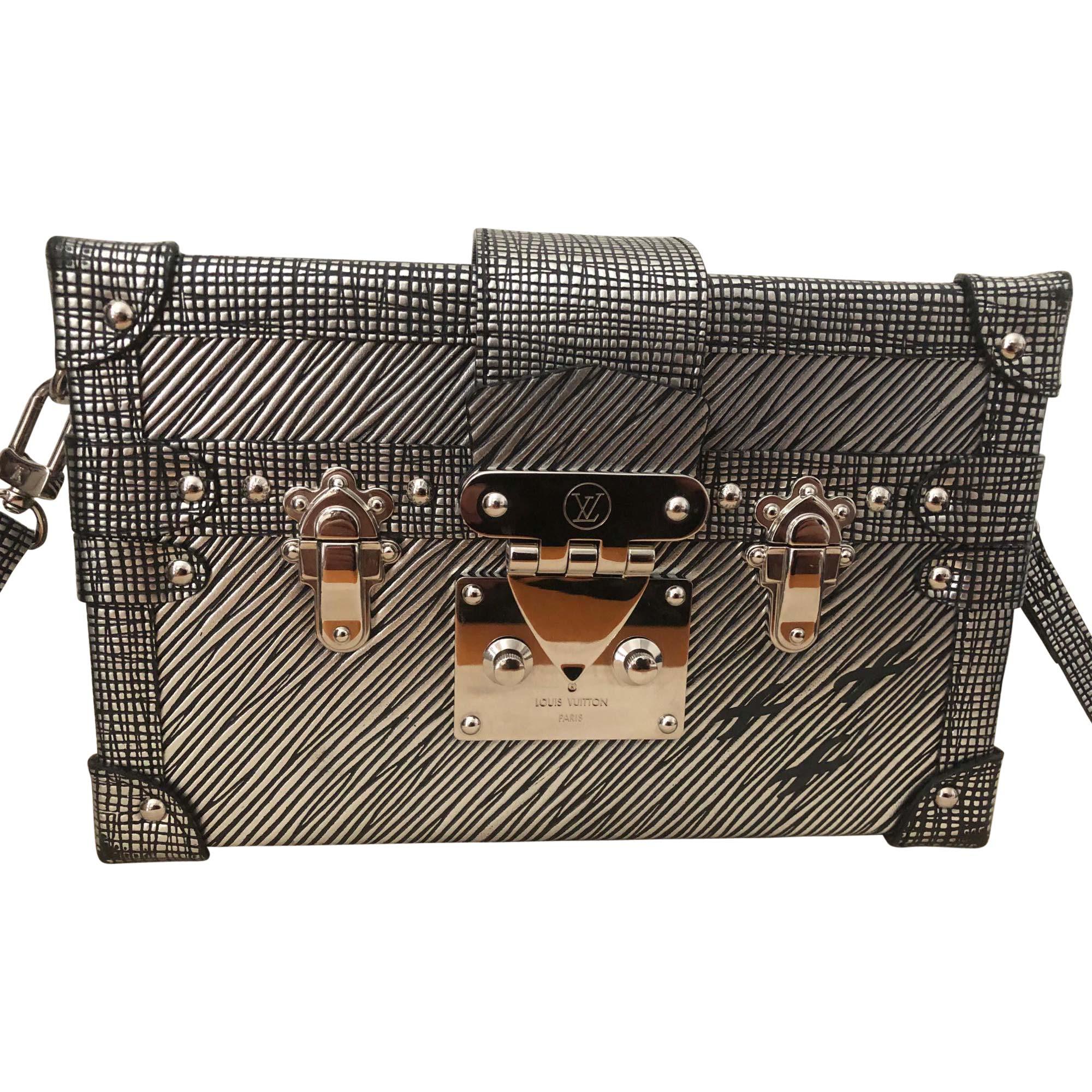 Leather Shoulder Bag LOUIS VUITTON Petite Malle Noir Epi Silver