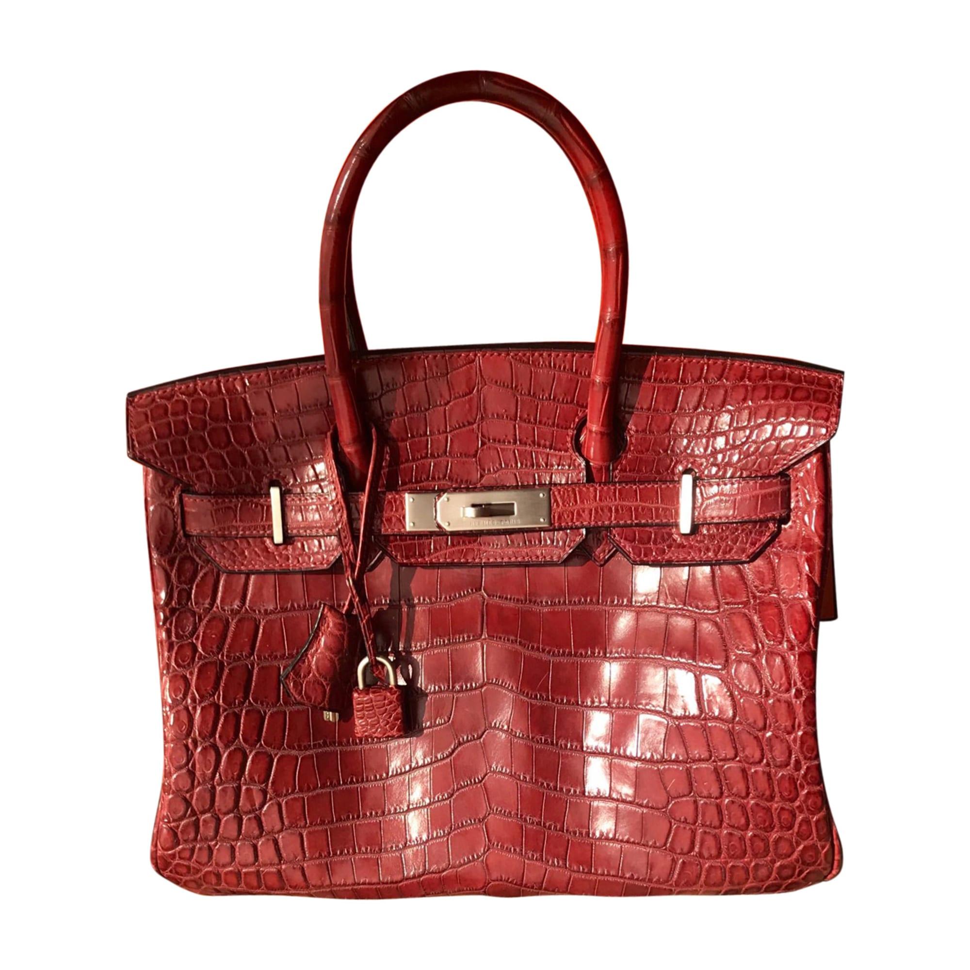 Lederhandtasche HERMÈS Birkin Rot, bordeauxrot