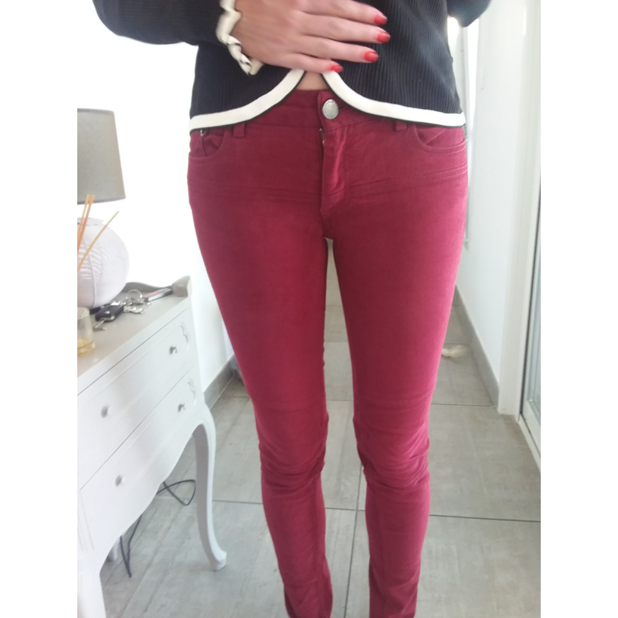 Jeans slim MAJE Rouge, bordeaux