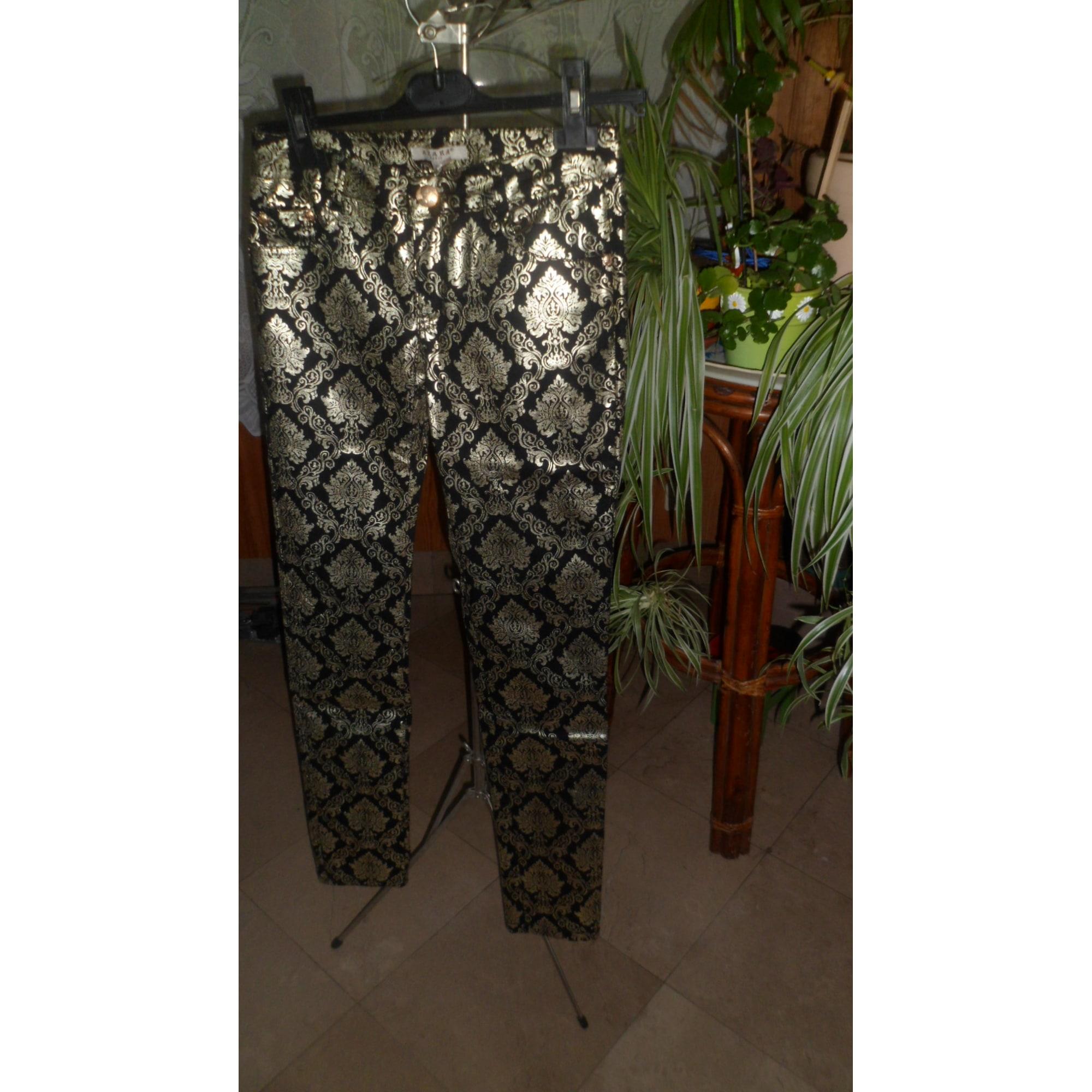 Pantalon droit AZARA PARIS Doré, bronze, cuivre