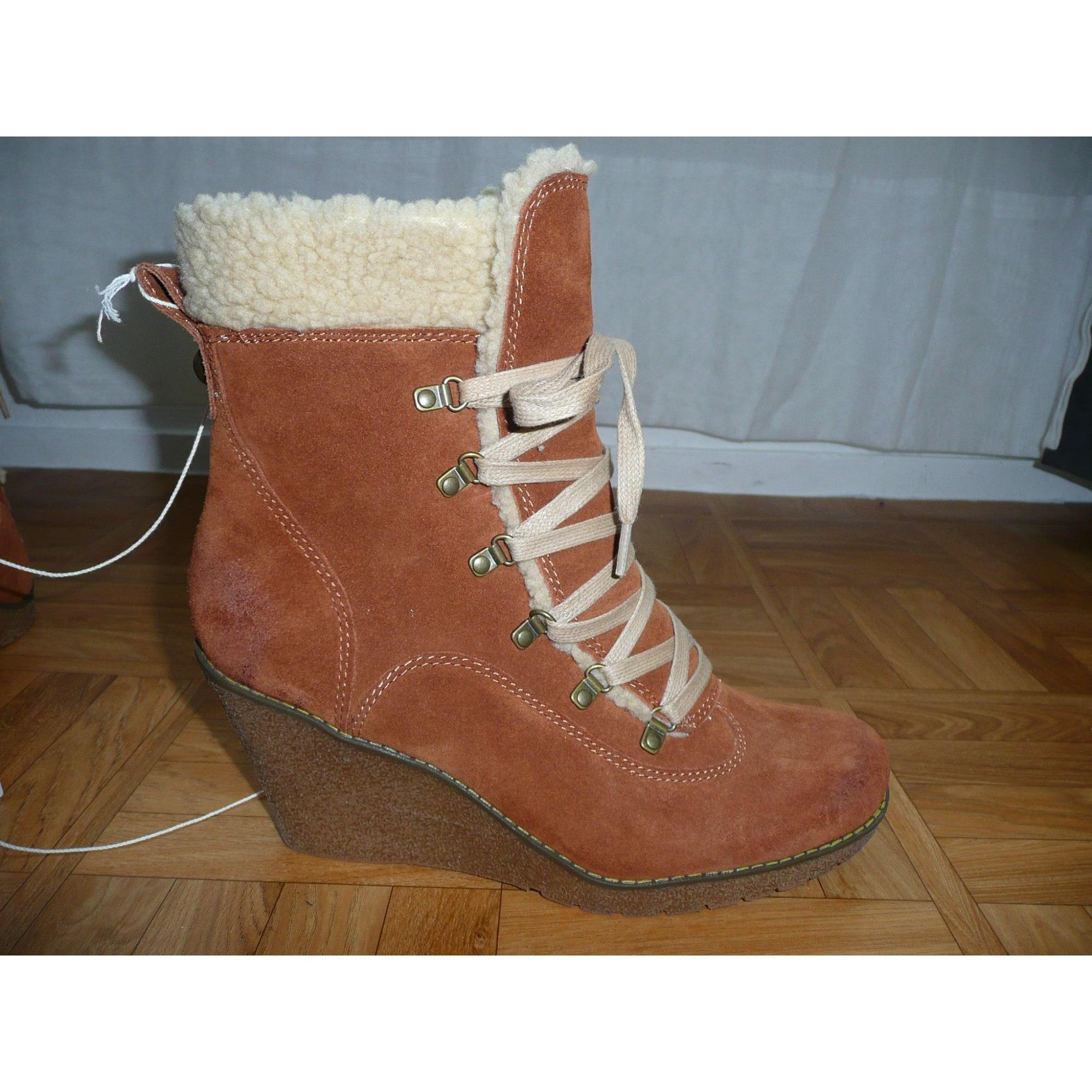 Bottines & low boots à compensés NAF NAF Marron